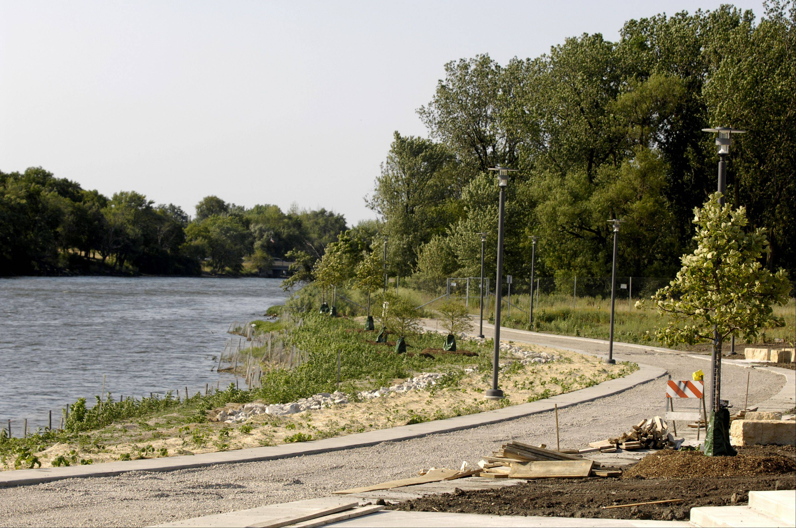 Planting native prairie and aquatic vegetation along the Fox River, reconstructing the riverfront bike path and building a stage, seating, lawn and concessions area were all part of the construction process that brought the Music Garden at RiverEdge Park in Aurora to life. Seen here in March 2012, the first phase of the park was constructed between July 2011 and October 2012 for $13.2 million.