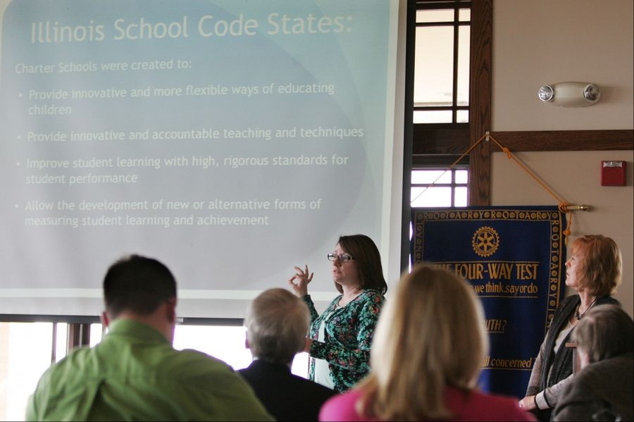 Elgin Charter School Initiative member Kari White makes a point during a presentation to the Elgin Noon Rotary Club on April 15 at the Hickory Stick restaurant in Elgin.