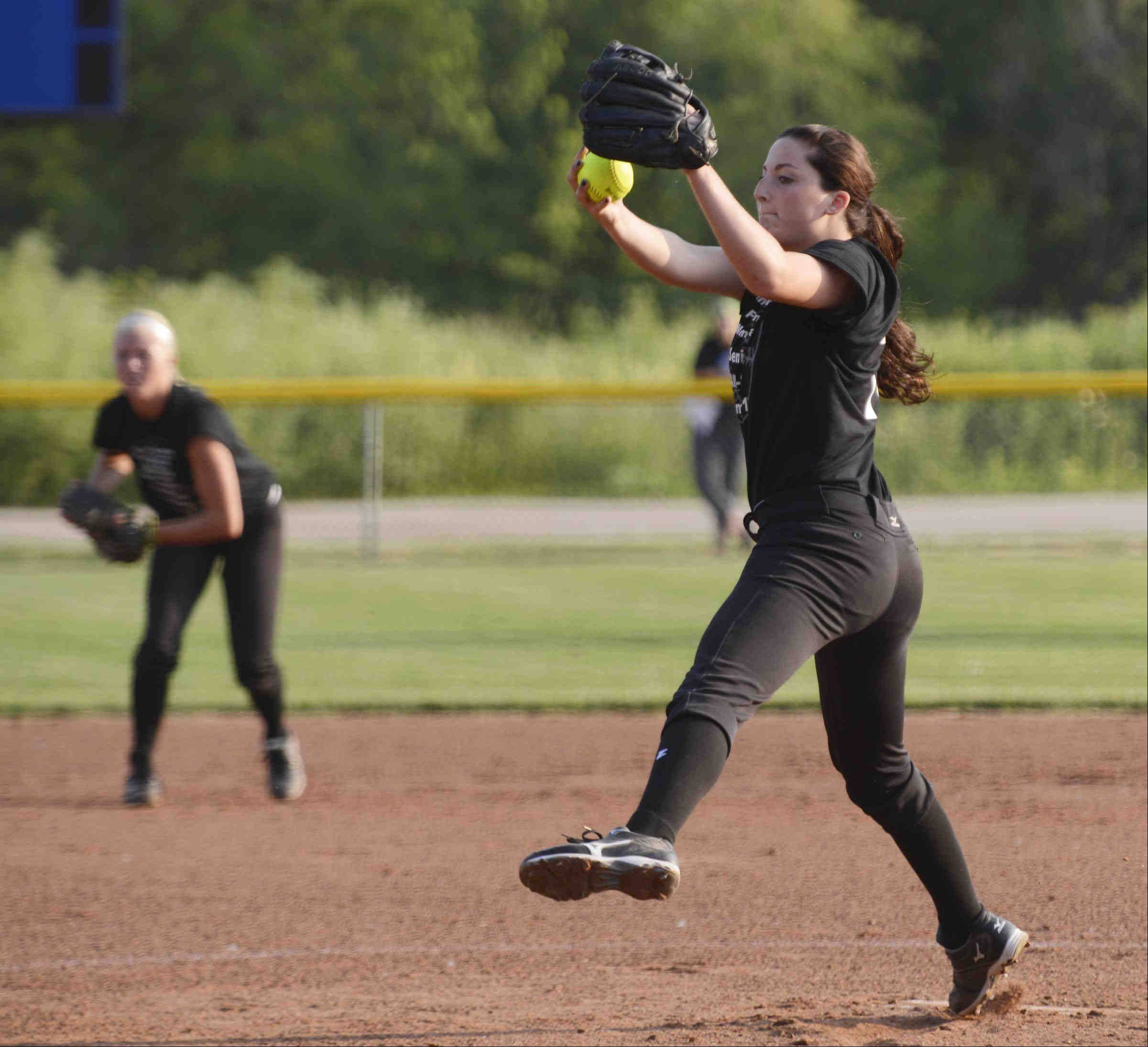 East All Star pitcher Danielle Jecmen of Lake Park High School delivers Monday during the Tenth Annual Fehlman Memorial Senior All-Star softball game at Judson University.