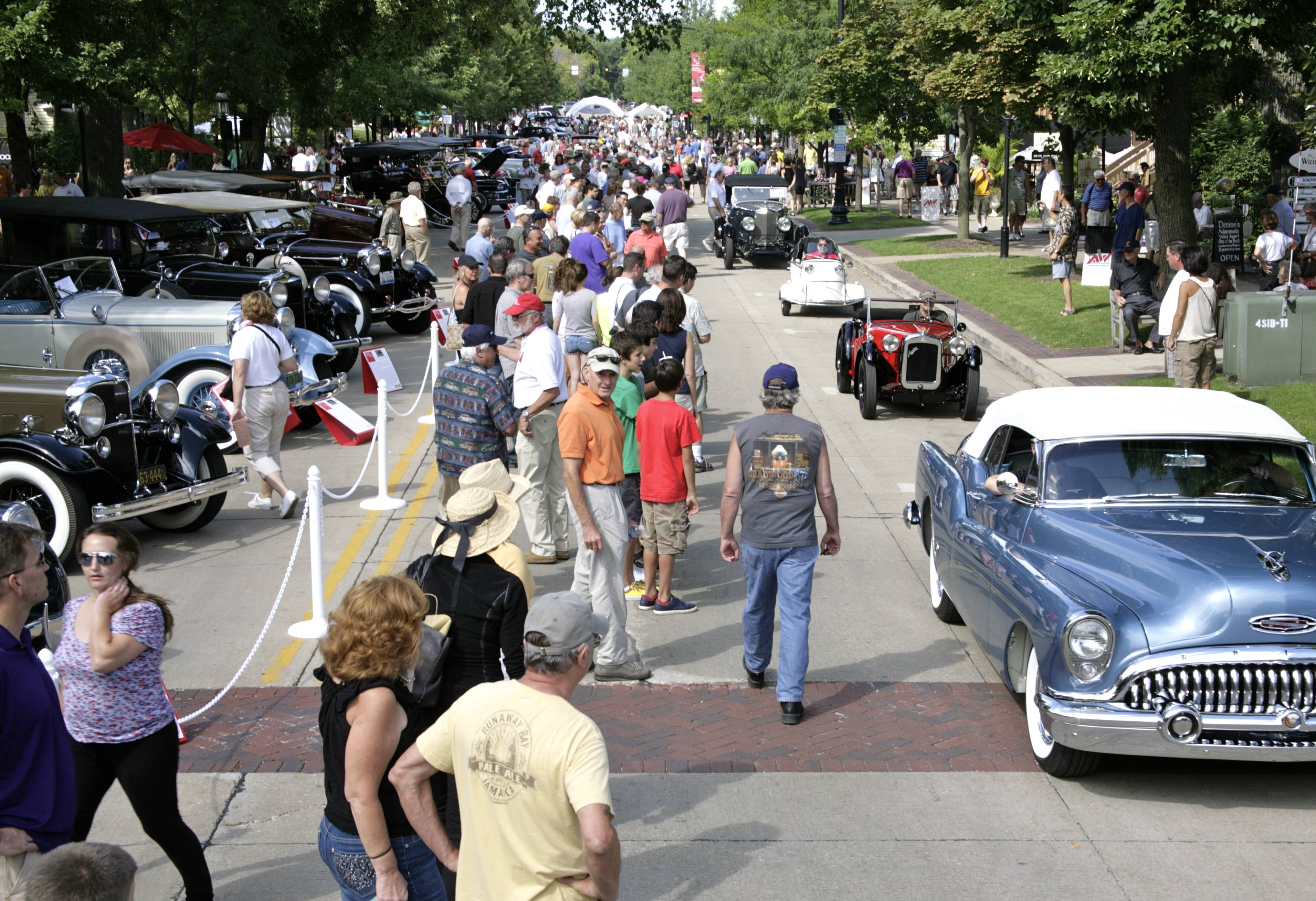 Overview of Third Street during the Geneva Concours D'Elegance
