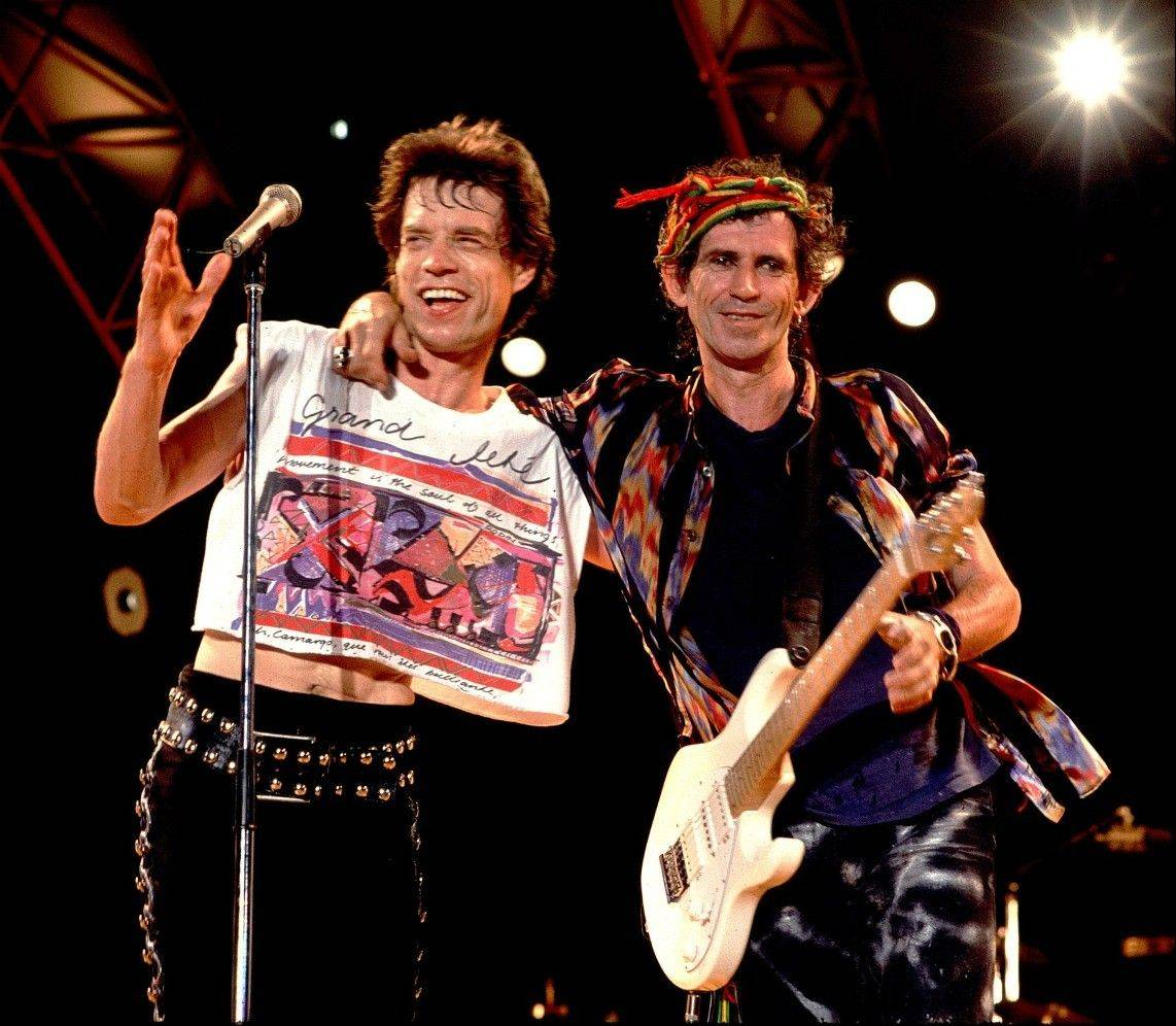 Mick Jagger, left, and Keith Richards perform together onstage in this photo shot by Chicago photographer Paul Natkin.