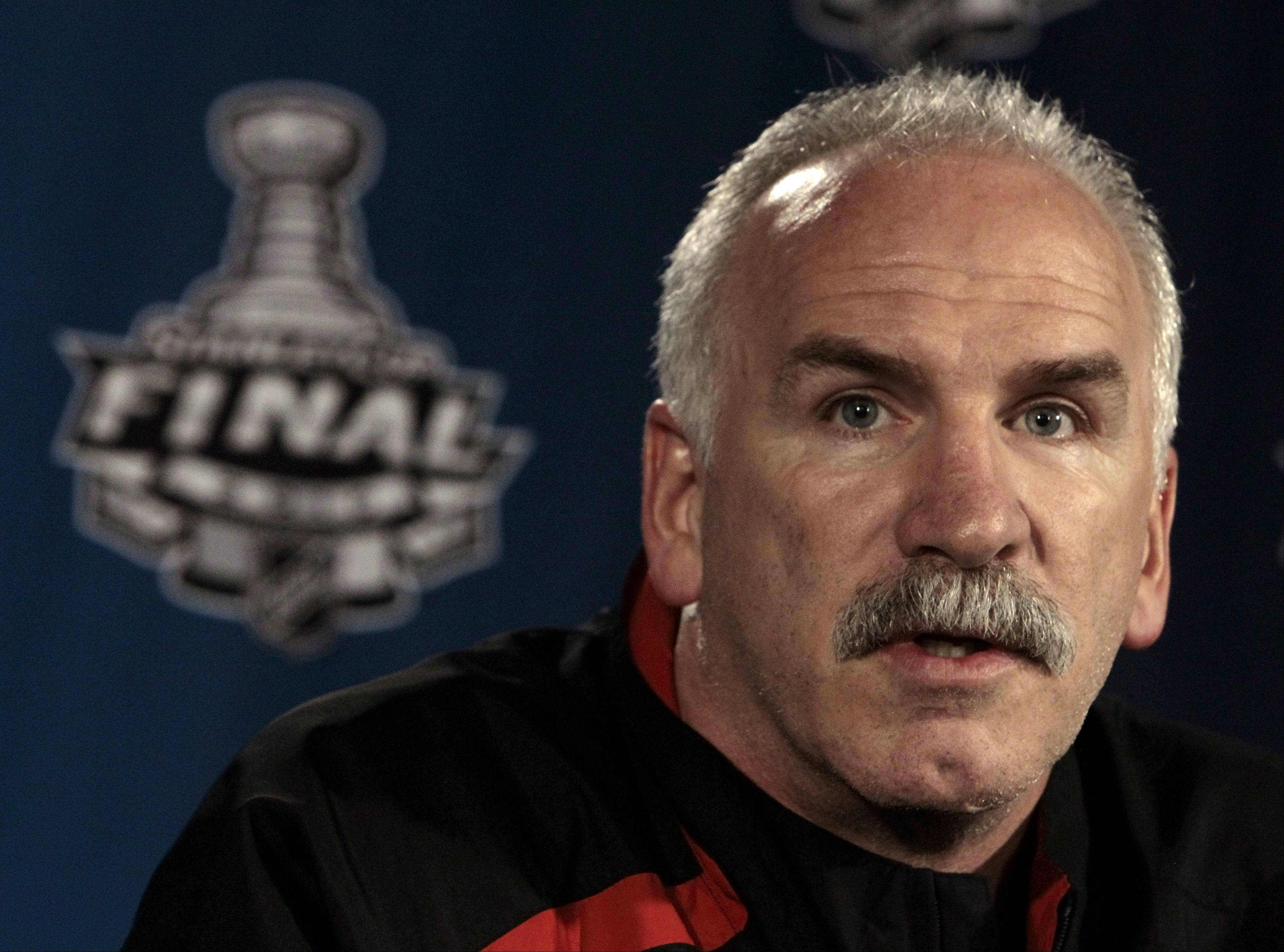 Chicago Blackhawks coach Joe Quenneville answers questions Sunday, May 30, 2010, in Chicago. The Blackhawks are scheduled to play the Philadelphia Flyers in Game 2 of the Stanley Cup NHL hockey finals Monday. The Blackhawks lead the series 1-0. (AP Photo/Mark Humphrey)