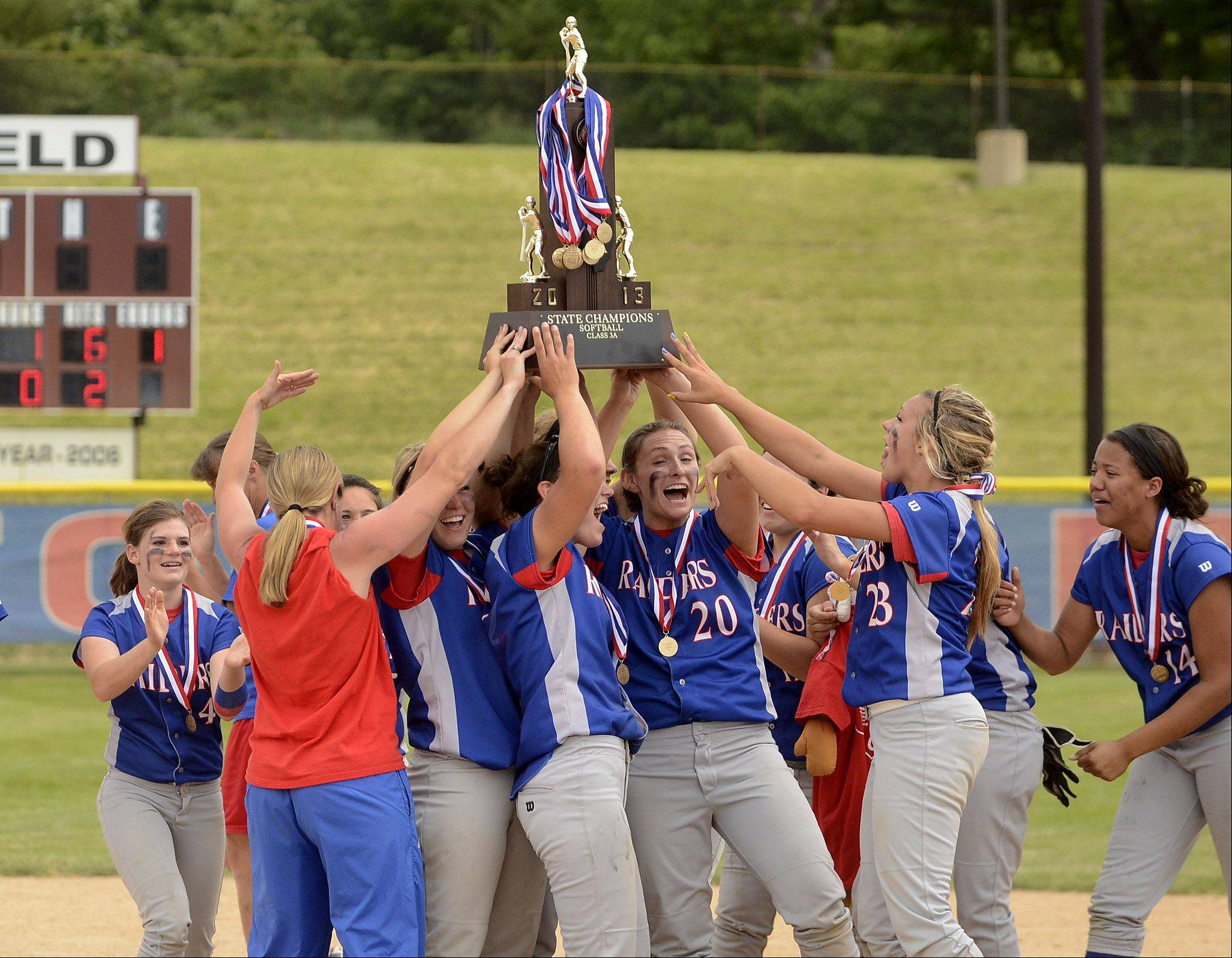 Glenbard South repeats as the Class 3A state softball champions after defeating Alton Marquette Saturday in East Peoria.