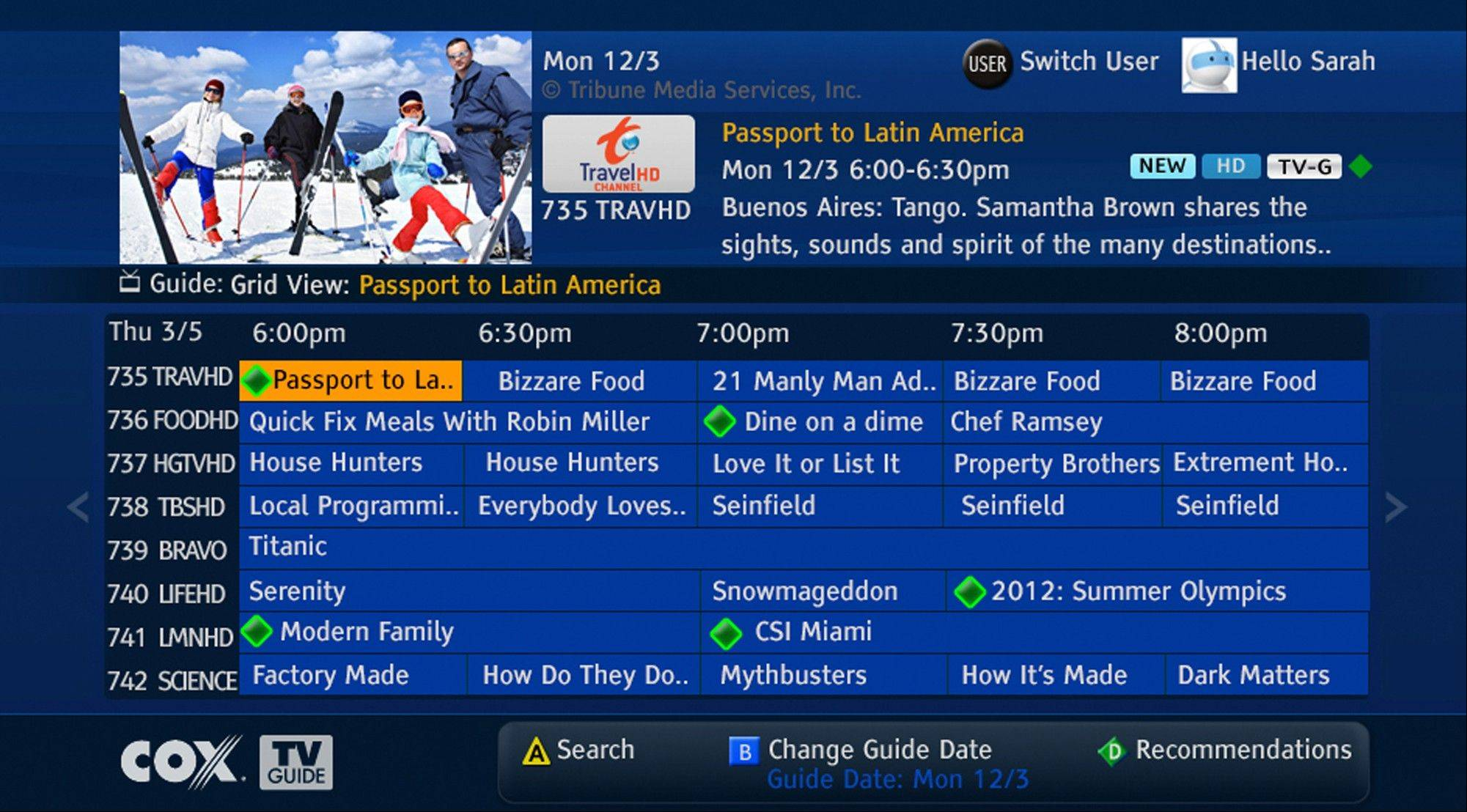 This image provided by Cox Communications shows a program guide for television set-top boxes to make it easier to find programs available live or on demand. It's an important development for cable TV companies, as they face criticisms for providing hundreds of channels that customers don't watch. Making shows easier to find helps the companies justify all those channels.