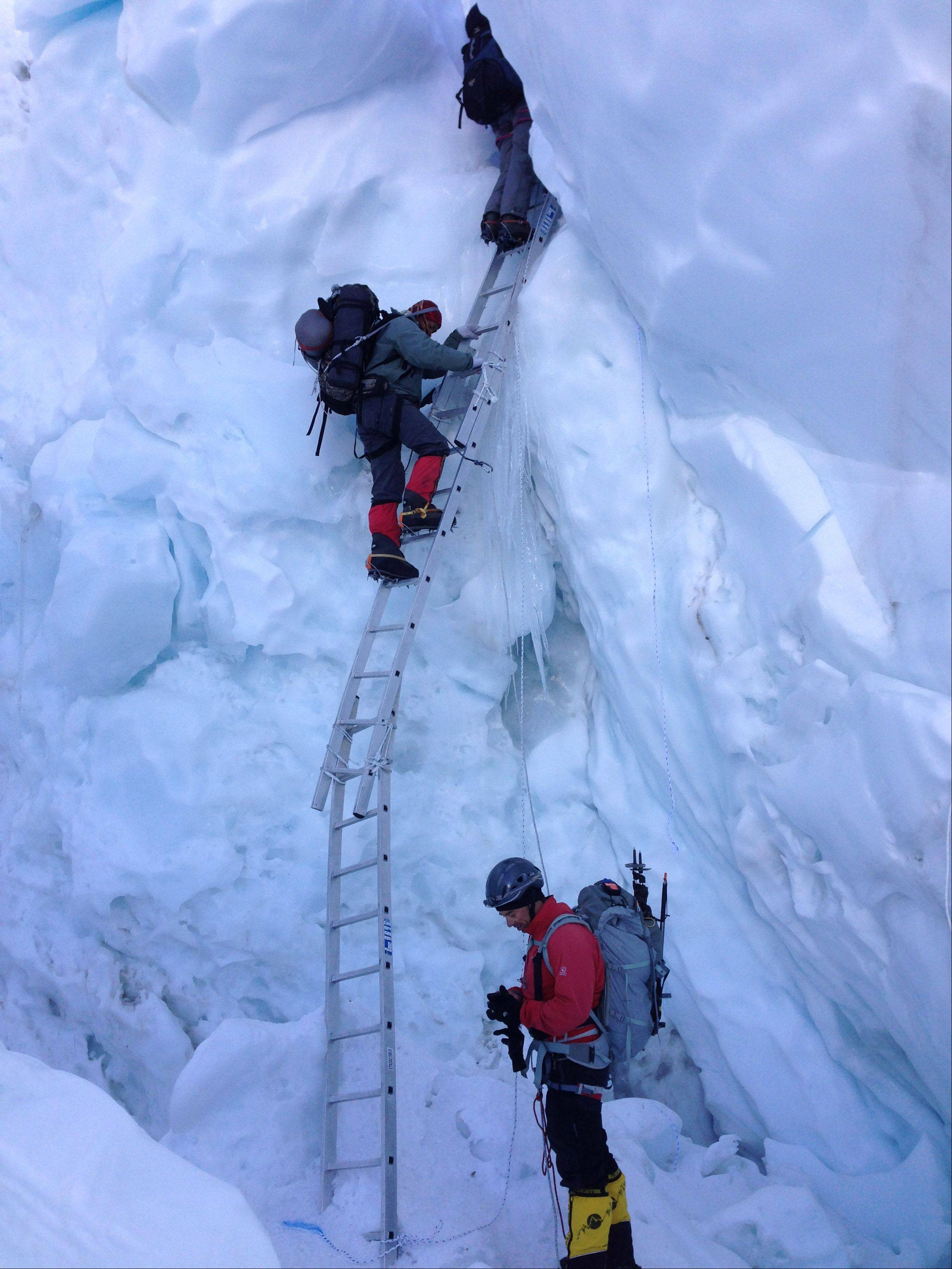 Roskelley took a picture of others also climbing up the Khumbu Icefall during his Mount Everest trip.