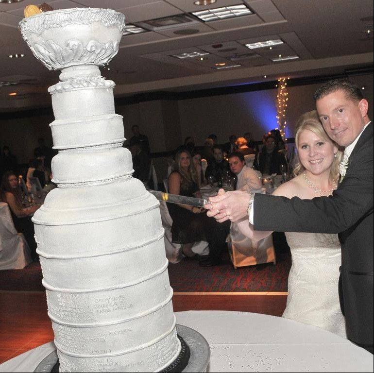 Carrie Vodnik says her husband, Greg, is the biggest die-hard Blackhawks fan she knows. And she does deserve wife of the year for this Stanley Cup wedding cake in 2011. The couple lives in Downers Grove.