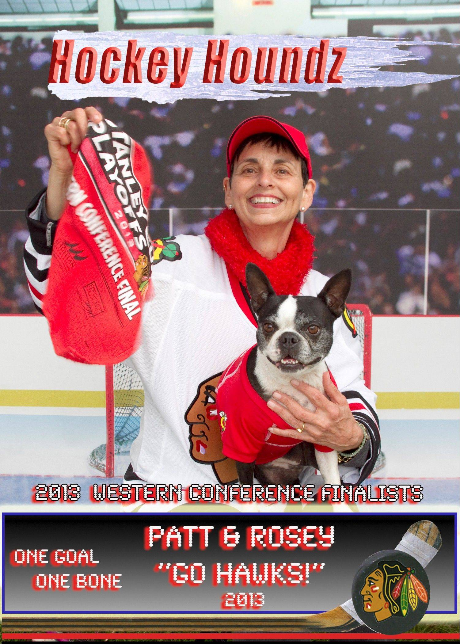 Patt Karubus-Bachochin is married to Frank, a lifelong Blackhawks fan Even their Boston terrier, Rosey, shows off her Blackhawks pride.