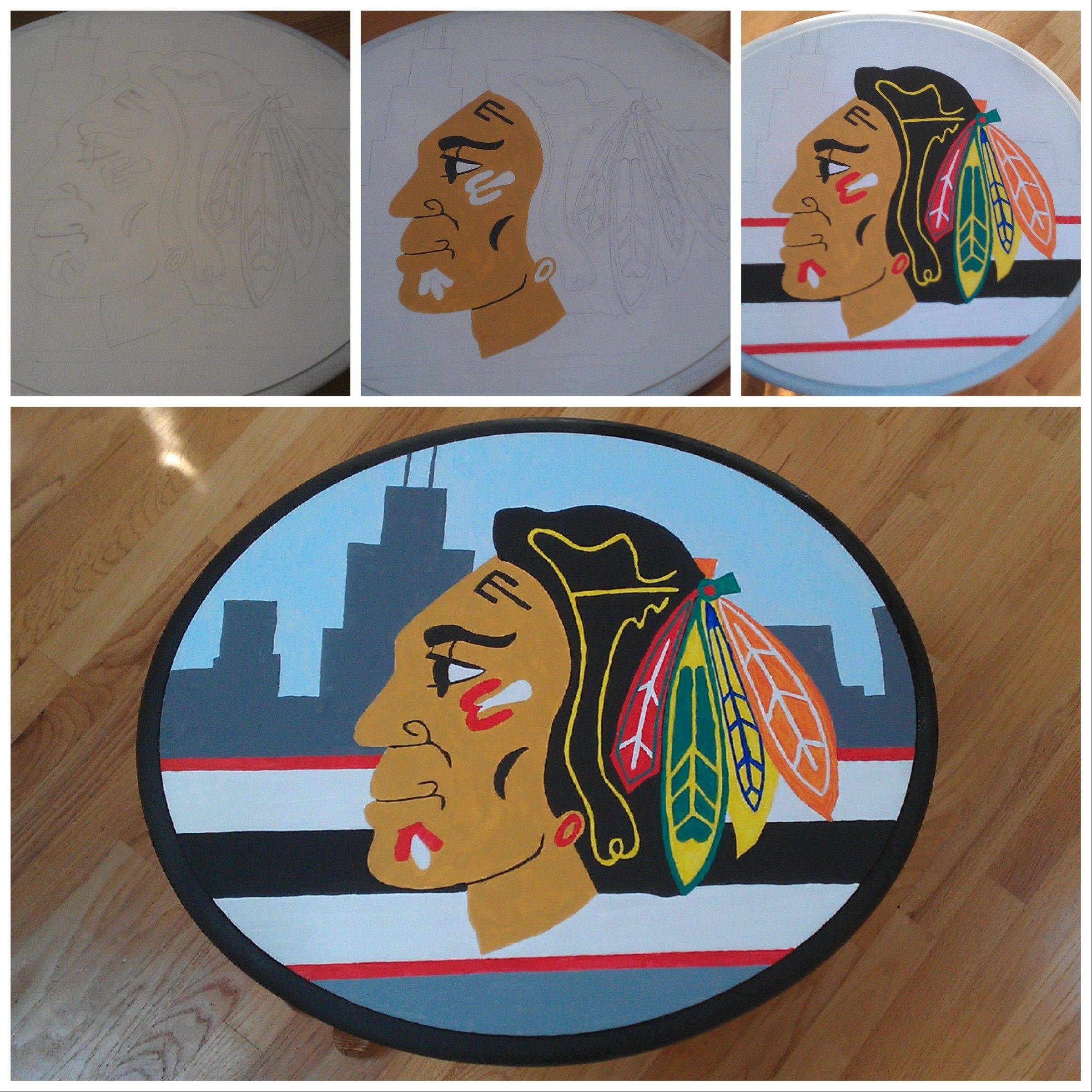 Lori Vavalle of Villa Park turned this old table into a Blackhawks table.
