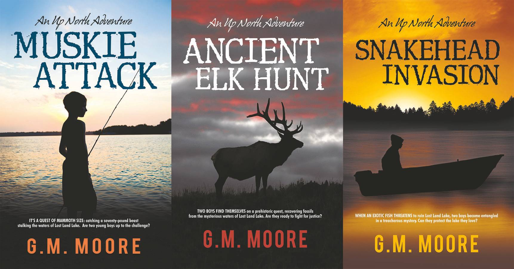The Up North Adventure series by G.M. Moore targets ages 9-12.