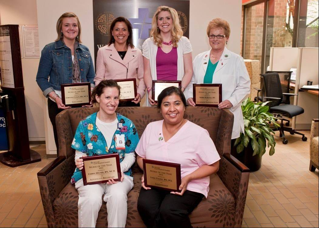 Advocate Good Shepherd Hospital honored the following six nurses, pictured from left, with its annual Nursing Excellence Awards: Standing: Christina Conley, RN; Mary Cote, RN; Emily Hendler, RN and Sherri McKenna, RN; sitting: Cheryl Degner, RN and Lydia Valdez, RN.