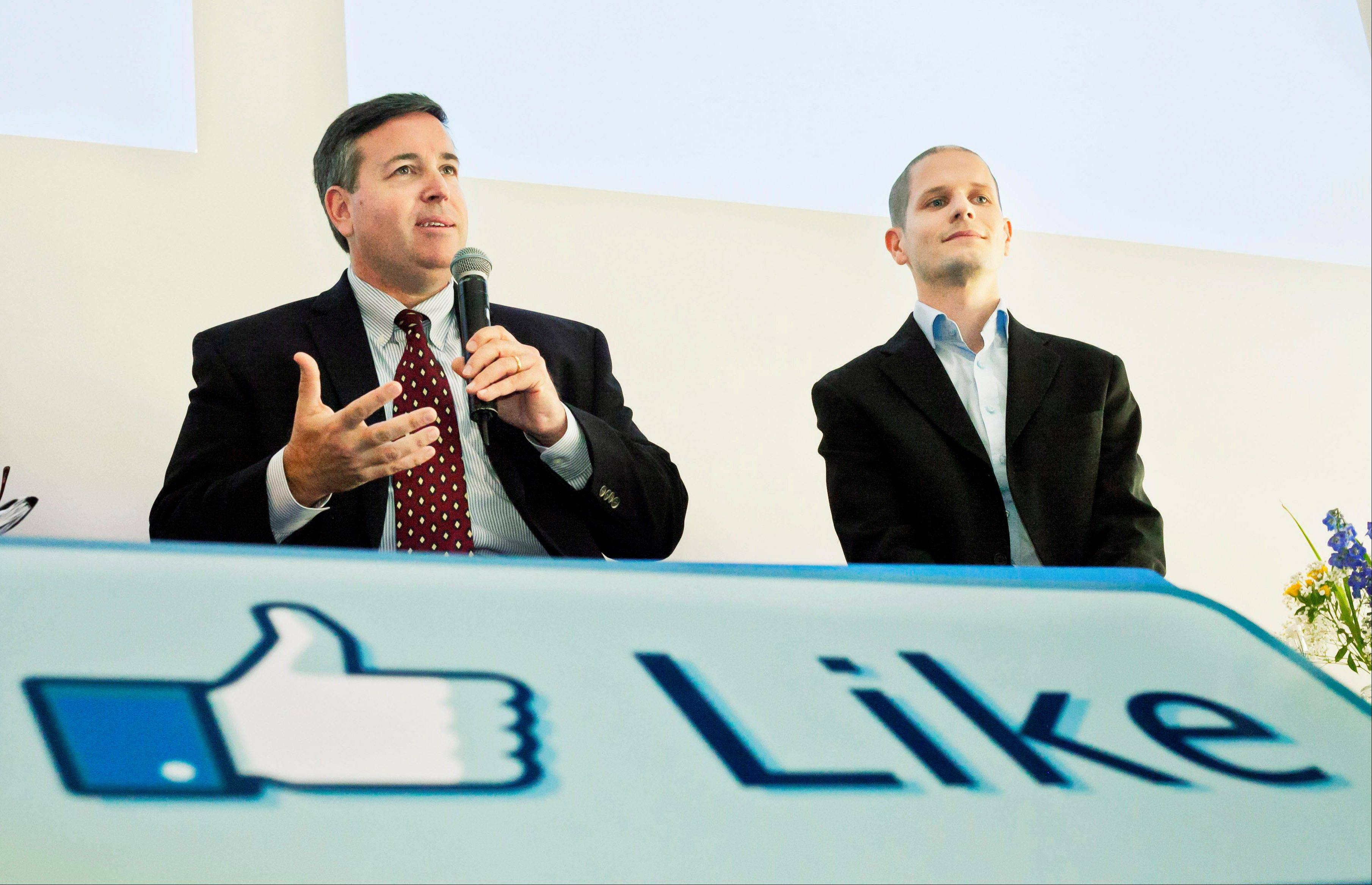 ASSOCIATED PRESSTom Furlong, Facebook's vice president of Site Operations, left, and Joel Kjellgren, Data Centre manager, speak at a news conference at Facebook's new server farm in Lulea, Sweden, Wednesday. Facebook on Wednesday started processing data through its first server farm outside the United States, on the edge of the Arctic Circle in Sweden.