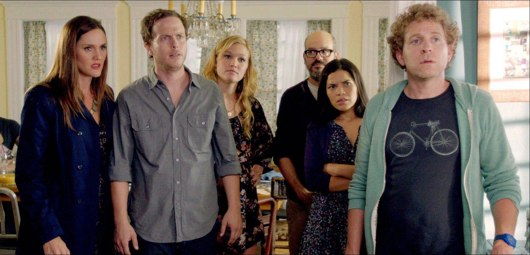 "Erinn Hayes, left, Blaise Miller, Julia Stiles, David Cross, America Ferrera and Jeff Grace in a scene from ""It's a Disaster."" This summer, a handful of films led by Seth Rogen and Evan Goldberg's ""This Is the End,"" are putting a humorous twist on the well-worn genre of the world ending."