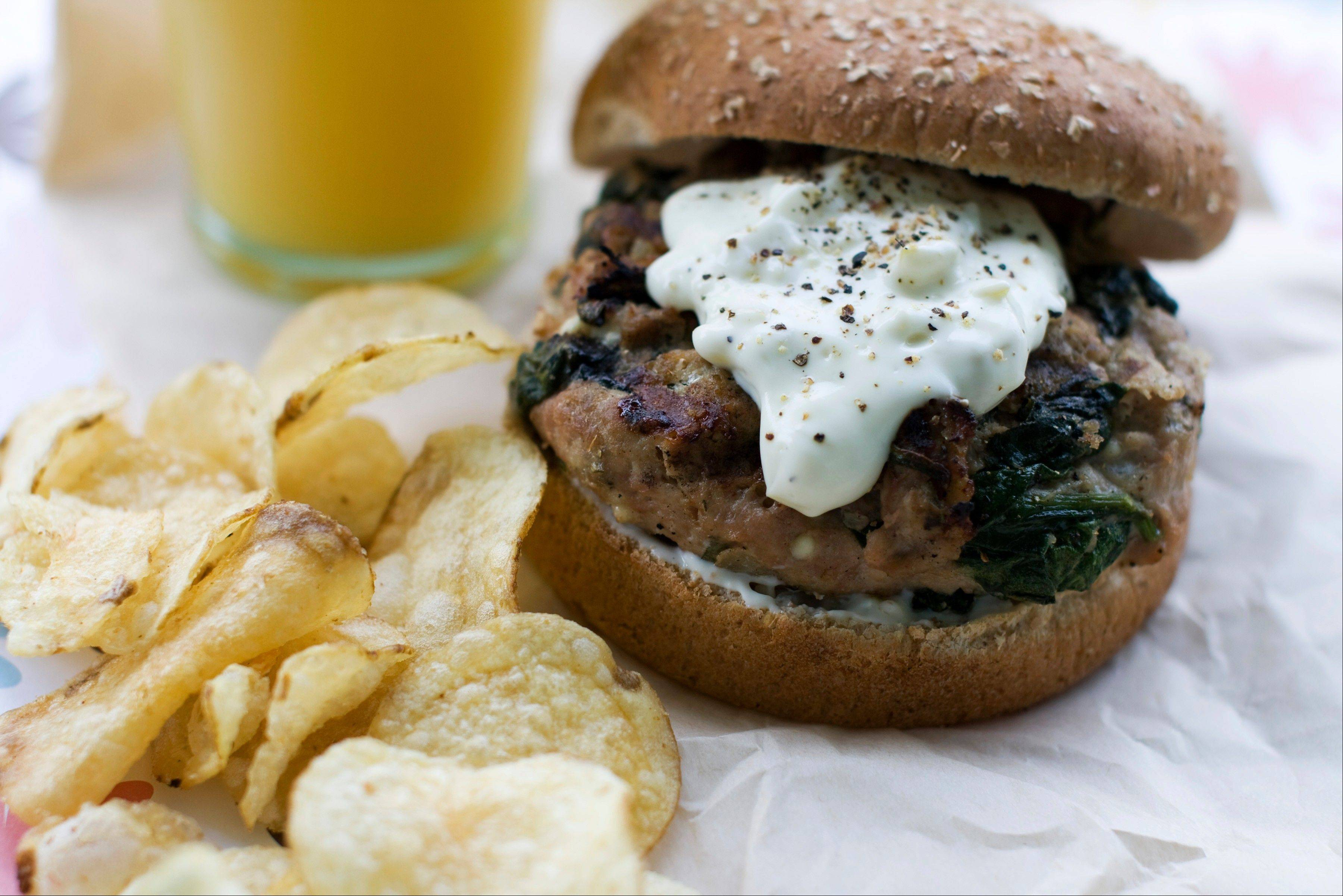 Spinach and onion blended into ground turkey give this burger a Greek flare.