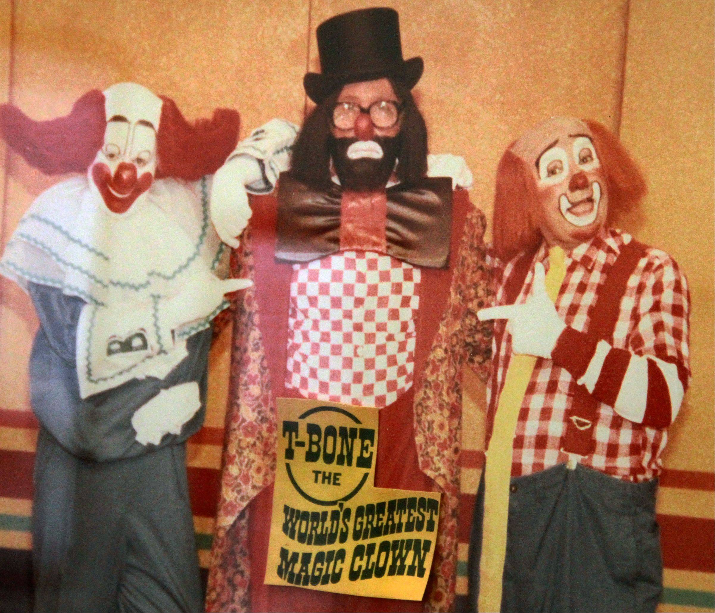 Don Theobald, the magician clown, is with Bozo the clown in 1960.