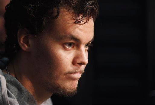 Boston Bruins goalie Tuukka Rask listens to a question during an NHL hockey news conference ahead of the Stanley Cup Final series between the Chicago Blackhawks and the Bruins on Tuesday.