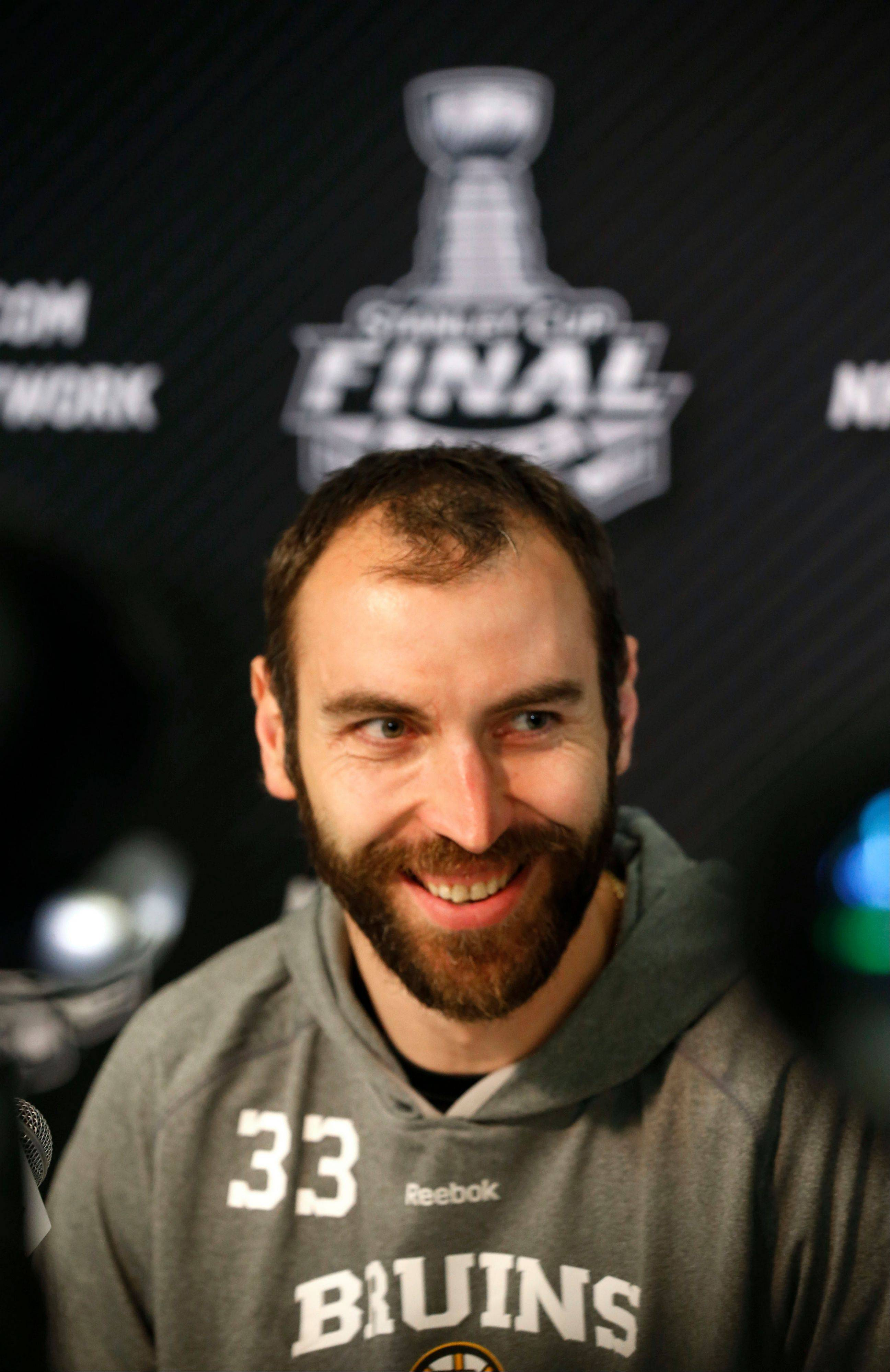 Bruins defenseman Zdeno Chara stands nearly 7 feet tall on skates and will be a huge obstacle for the Blackhawks to overcome in the Stanley Cup Finals.