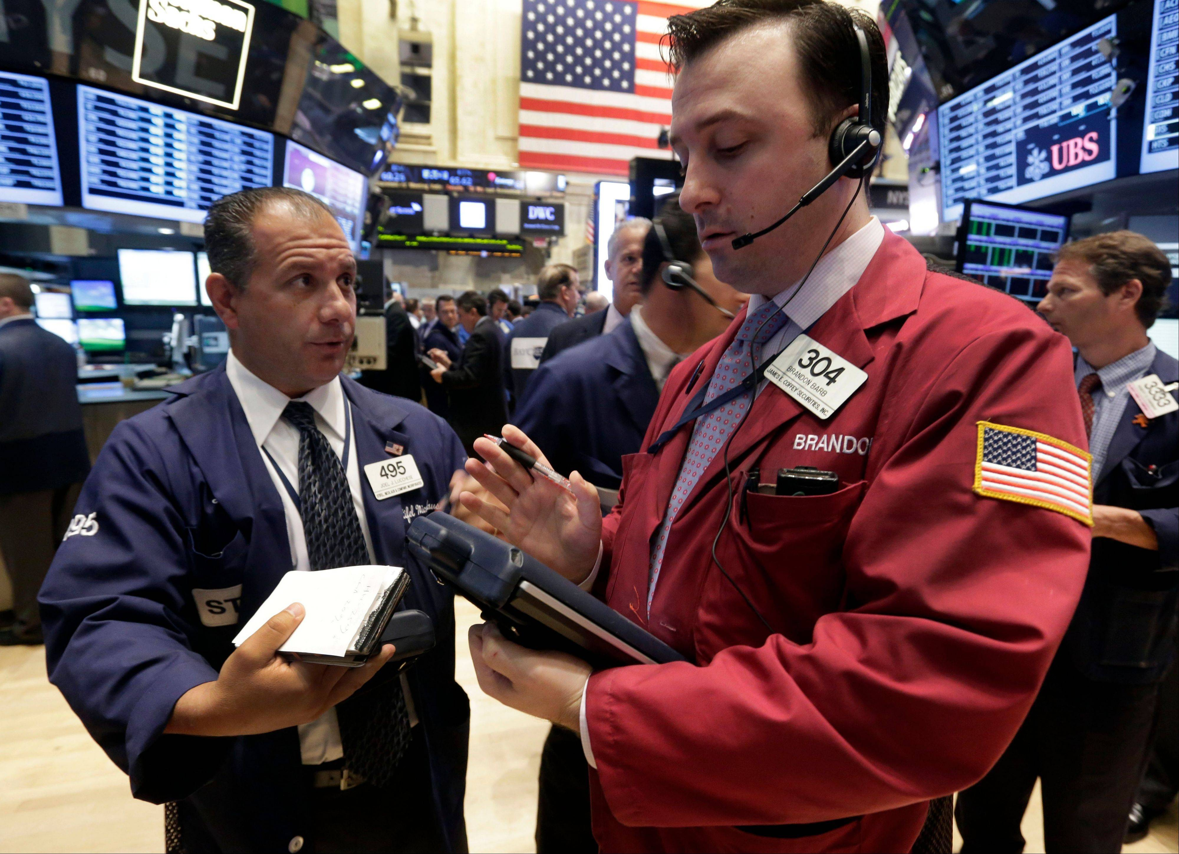 U.S. stocks gained, ending a three-day decline in the Standard & Poor�s 500 Index, amid better- than-forecast economic data and acquisitions in the media and grocery industries.