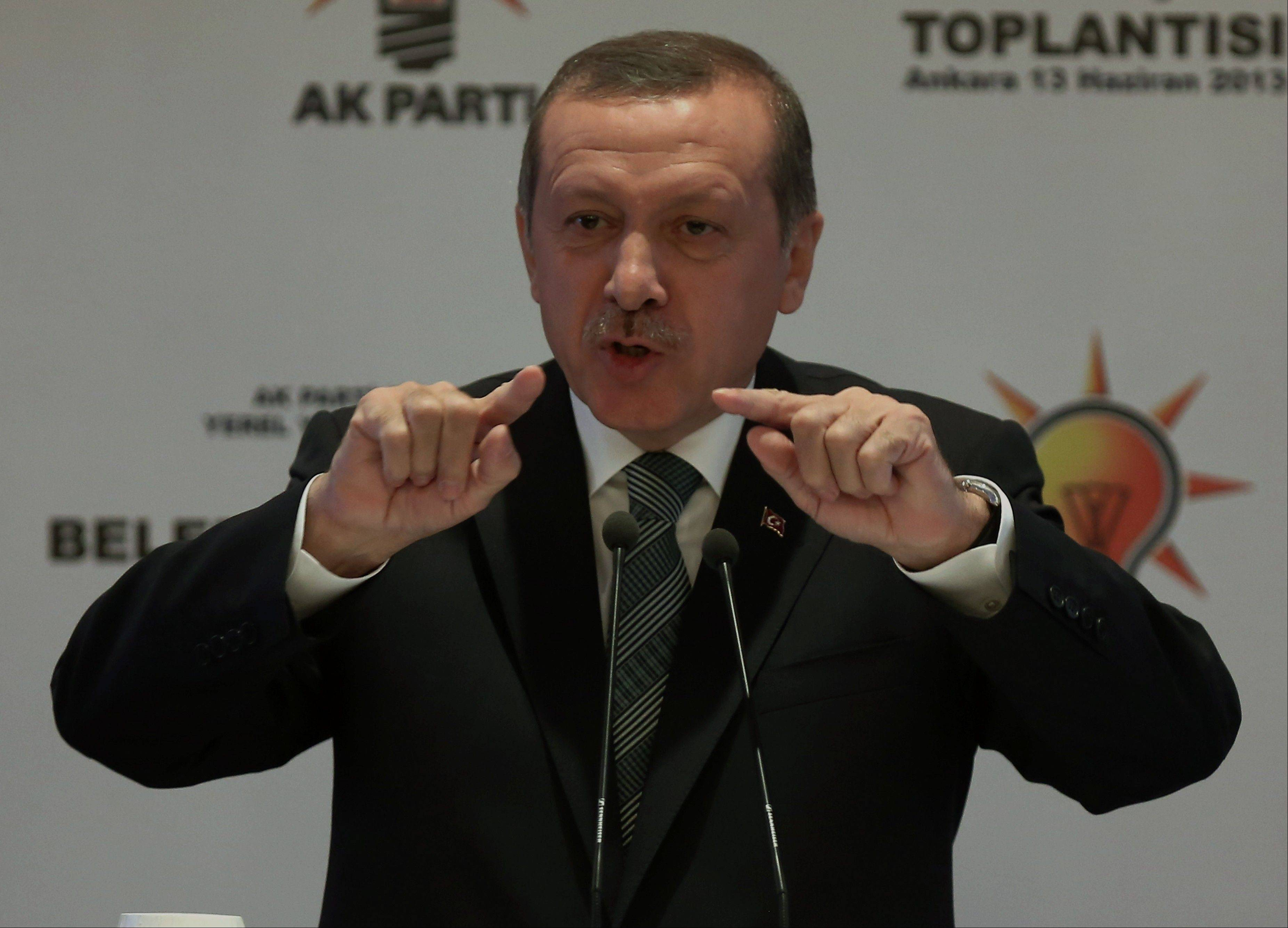 Associated Press Turkish Prime Minister Recep Tayyip Erdogan addresses the mayors from his ruling Justice and Development Party in Ankara, Turkey, Thursday, June 13, 2013.