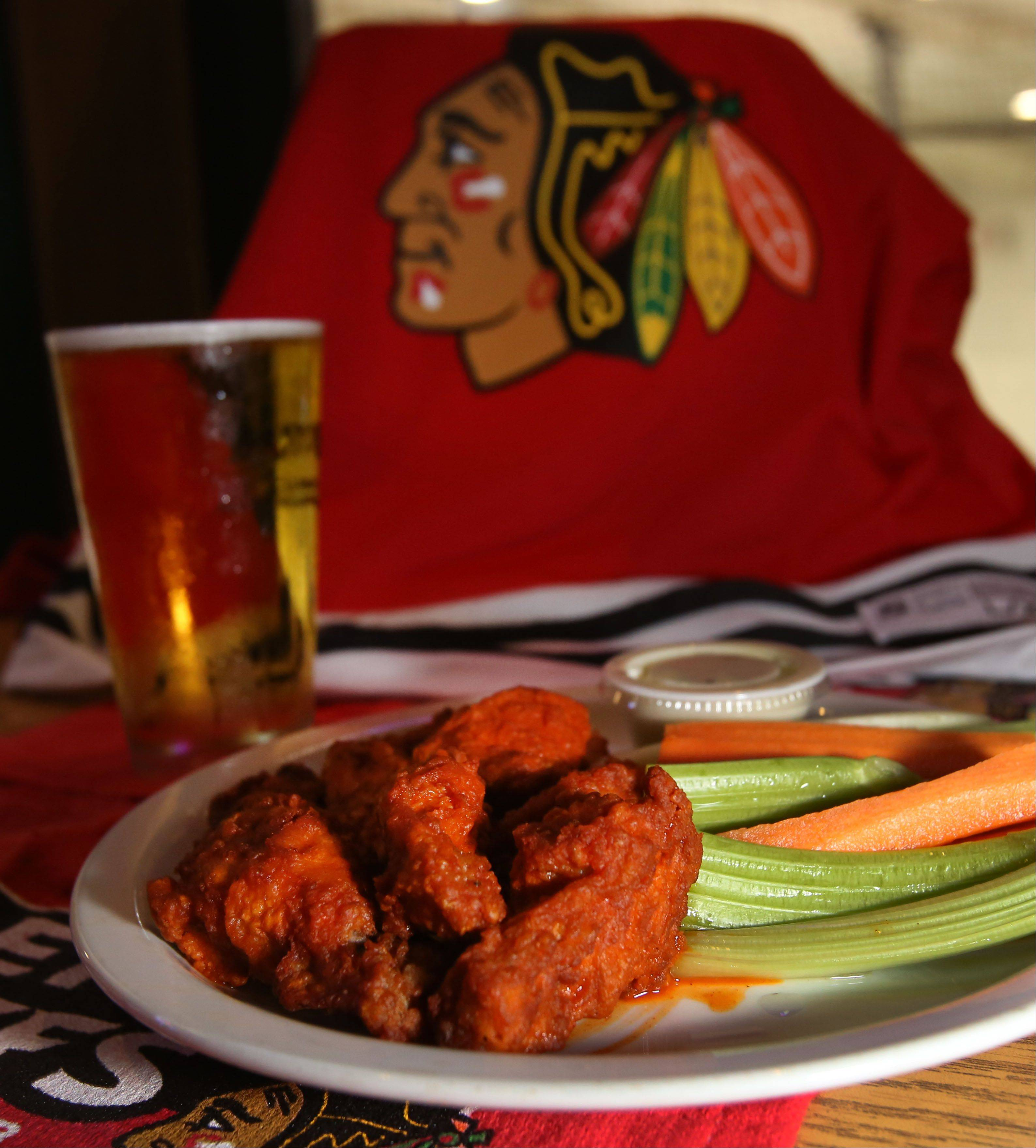 Wings and beer make a great combo for the Blackhawks games at the Blue Line Bar & Grill in Addison.