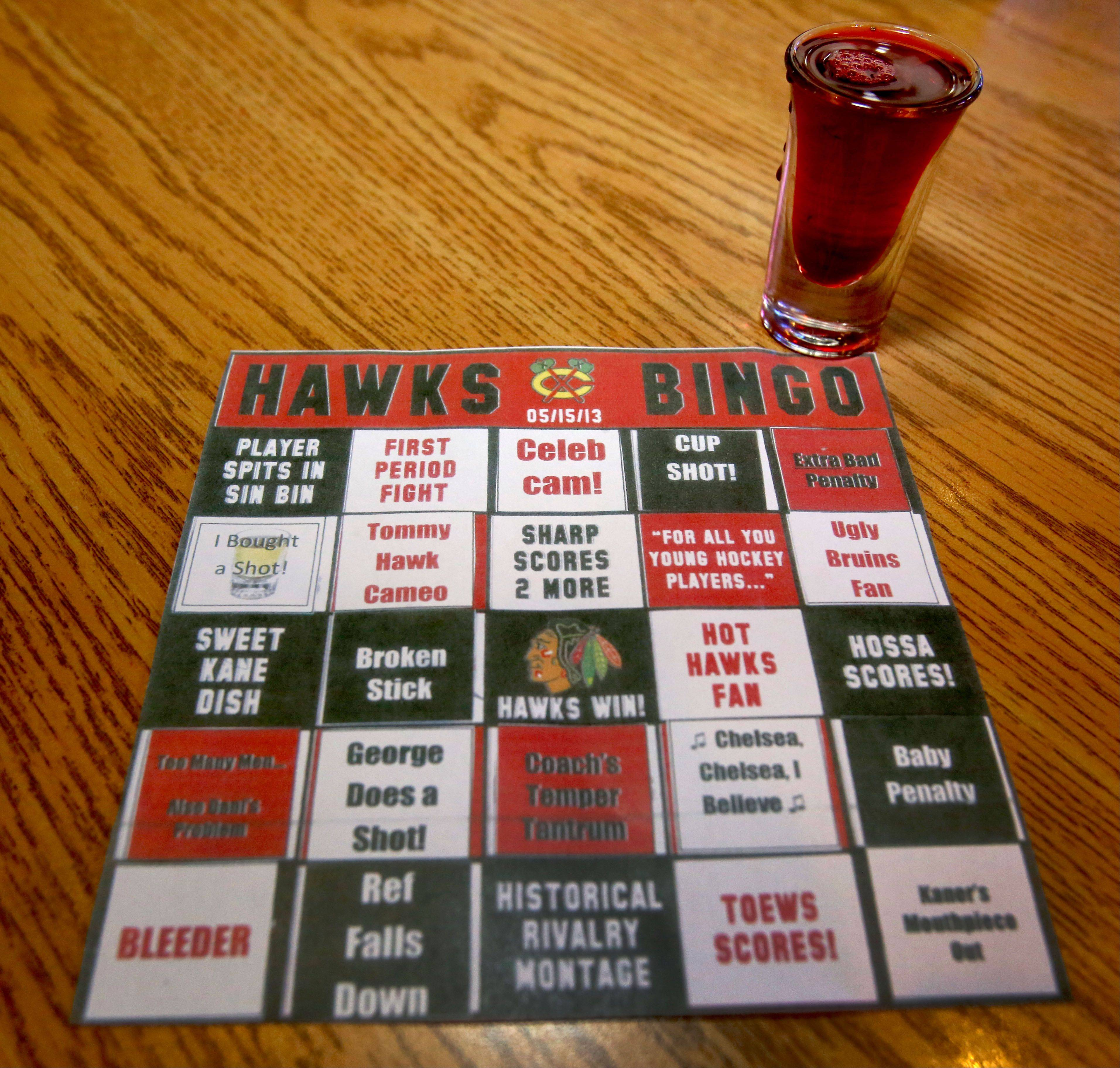Fans can play a Hawks bingo game at Blue Line Bar & Grill in Addison.