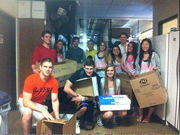 Buffalo Grove High School students collected 22 boxes of books, backpacks, pencil cases and other supplies while cleaning out their lockers at the end of the school year. The supplies will be donated to students in Oklahoma who lost their schools and homes in a tornado last month.