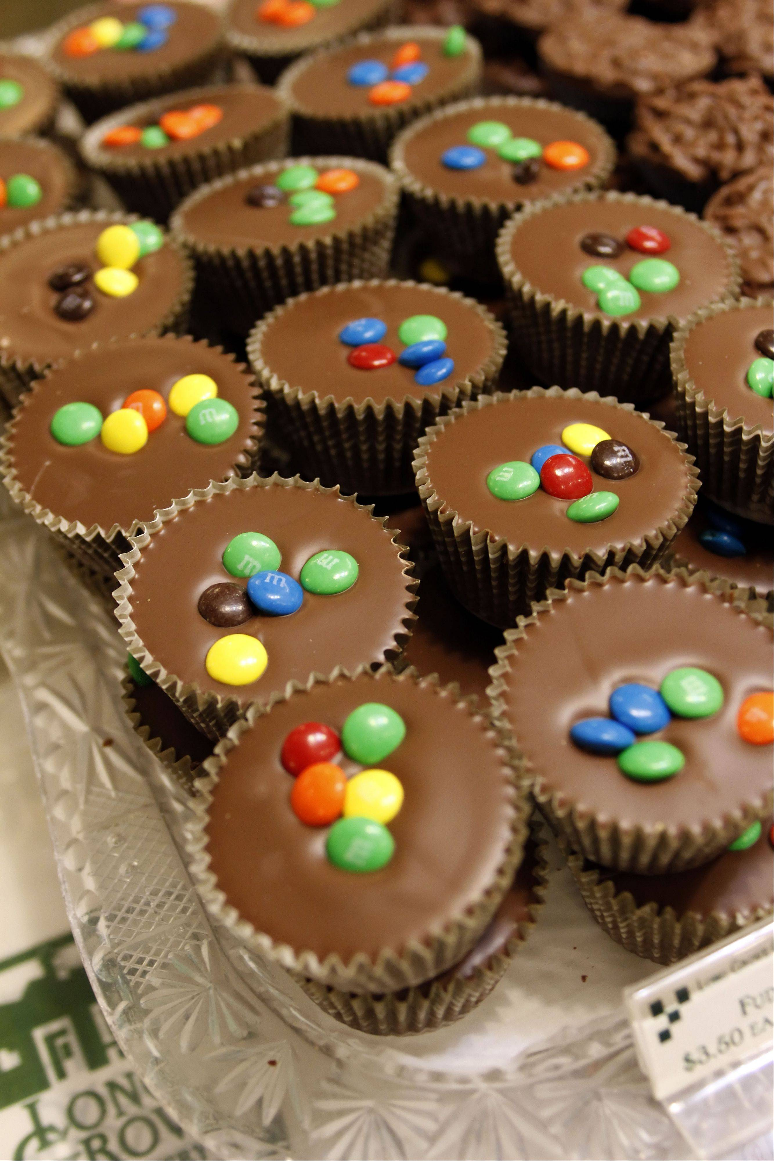 These fudge cups topped with M&M's are an example of the products for sale at the Long Grove Confectionery store in downtown Long Grove.