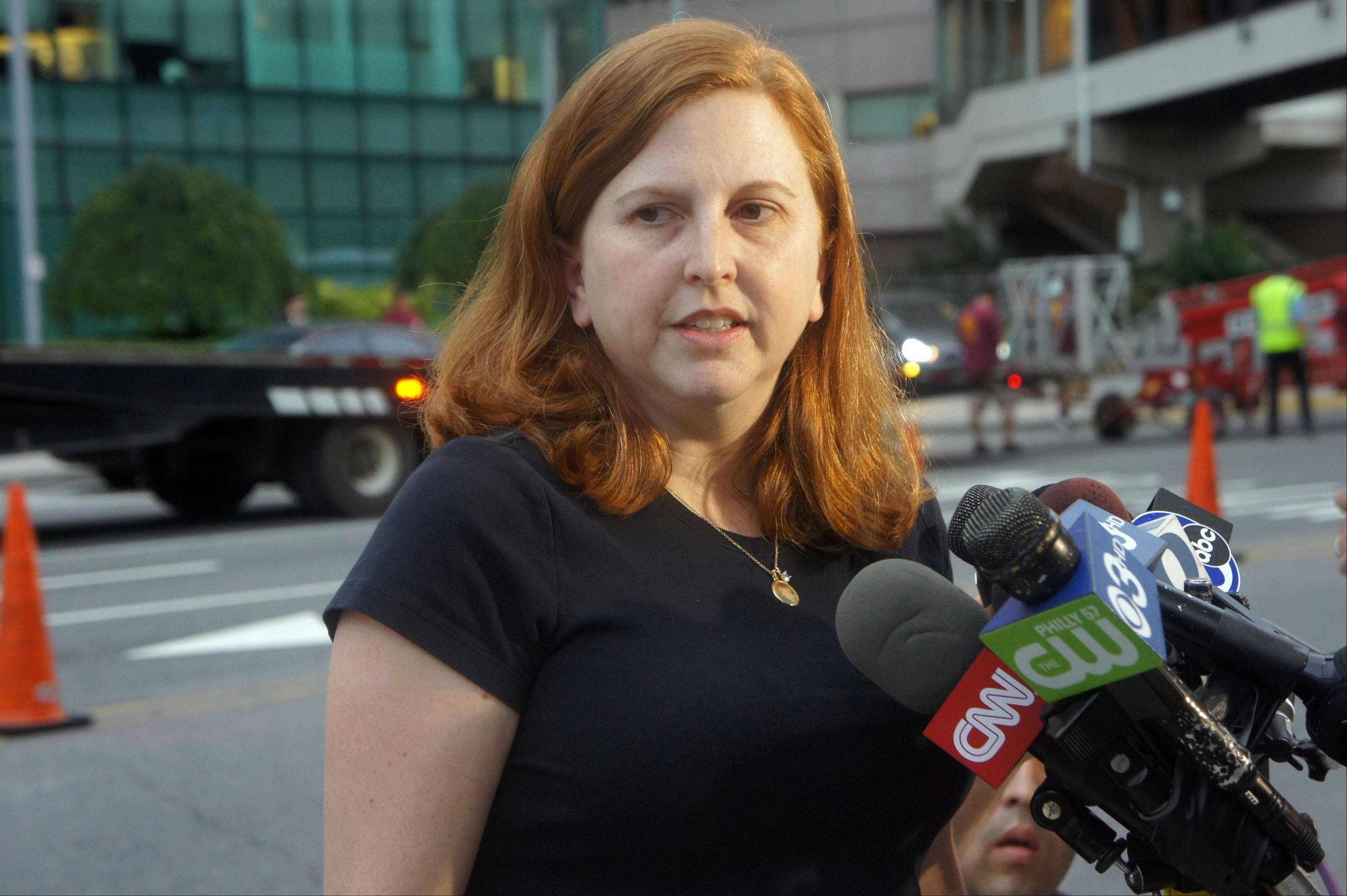 Sharon Ruddock, the aunt of Sarah Murnaghan, talks to reporters outside the Children's Hospital of Philadelphia after the 10-year-old underwent a six-hour double-lung transplant as a result of her severe cystic fibrosis, Wednesday, June 12, 2013. Ruddock said her niece never would have received the transplant without a judge's ruling that made her eligible for adult donor lungs.