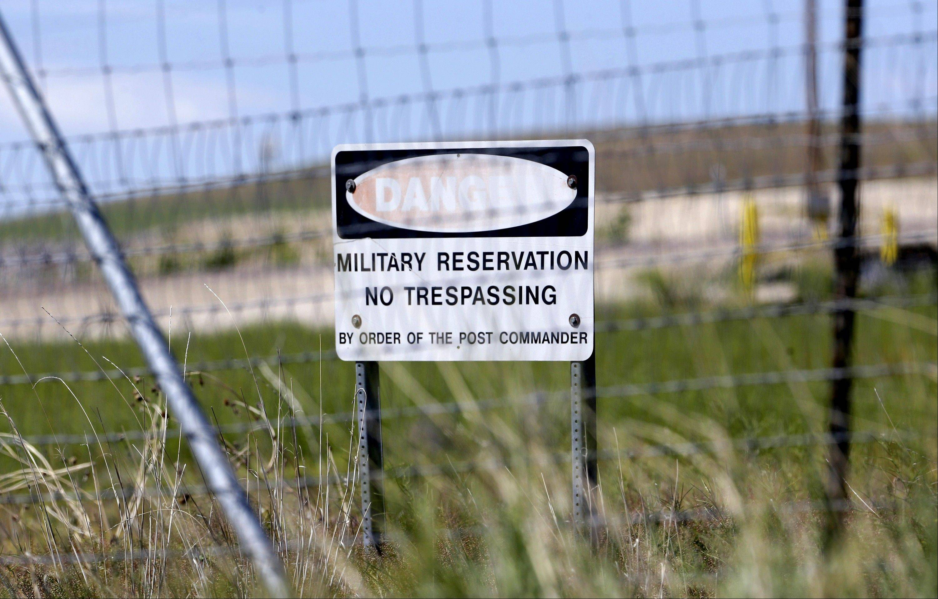 A military no trespassing sign shown in front of Utah's NSA Data Center in Bluffdale, Utah. The nation's new billion-dollar epicenter for fighting global cyberthreats sits just south of Salt Lake City, tucked away on a National Guard base at the foot of snow-capped mountains.
