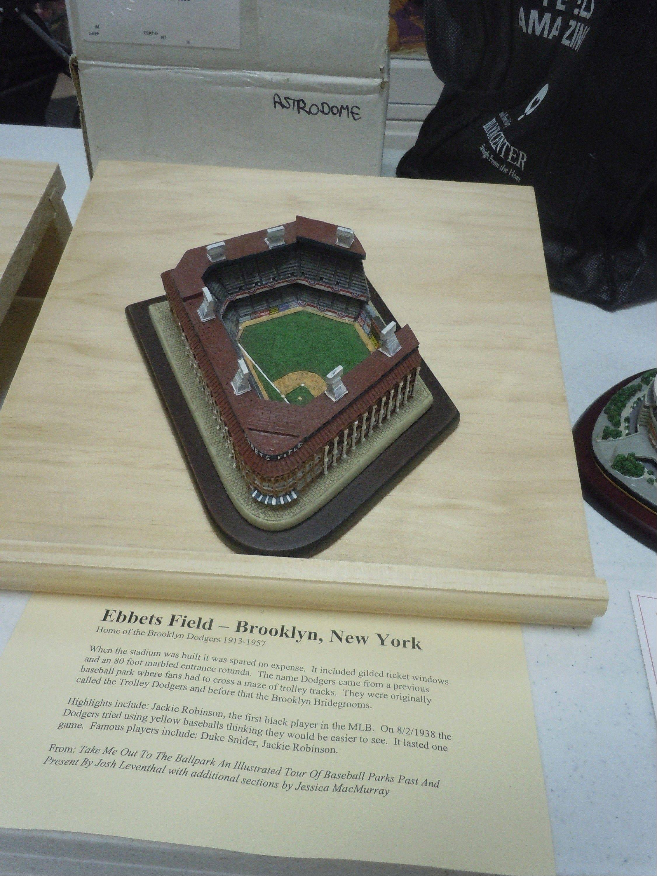 See a collection of more than 50 miniature stadiums, including Ebbets Field, Three Rivers Stadium and Comiskey Park, re-created by the Franklin Mint, during a limited exhibition at the McHenry County Historical Society Museum.