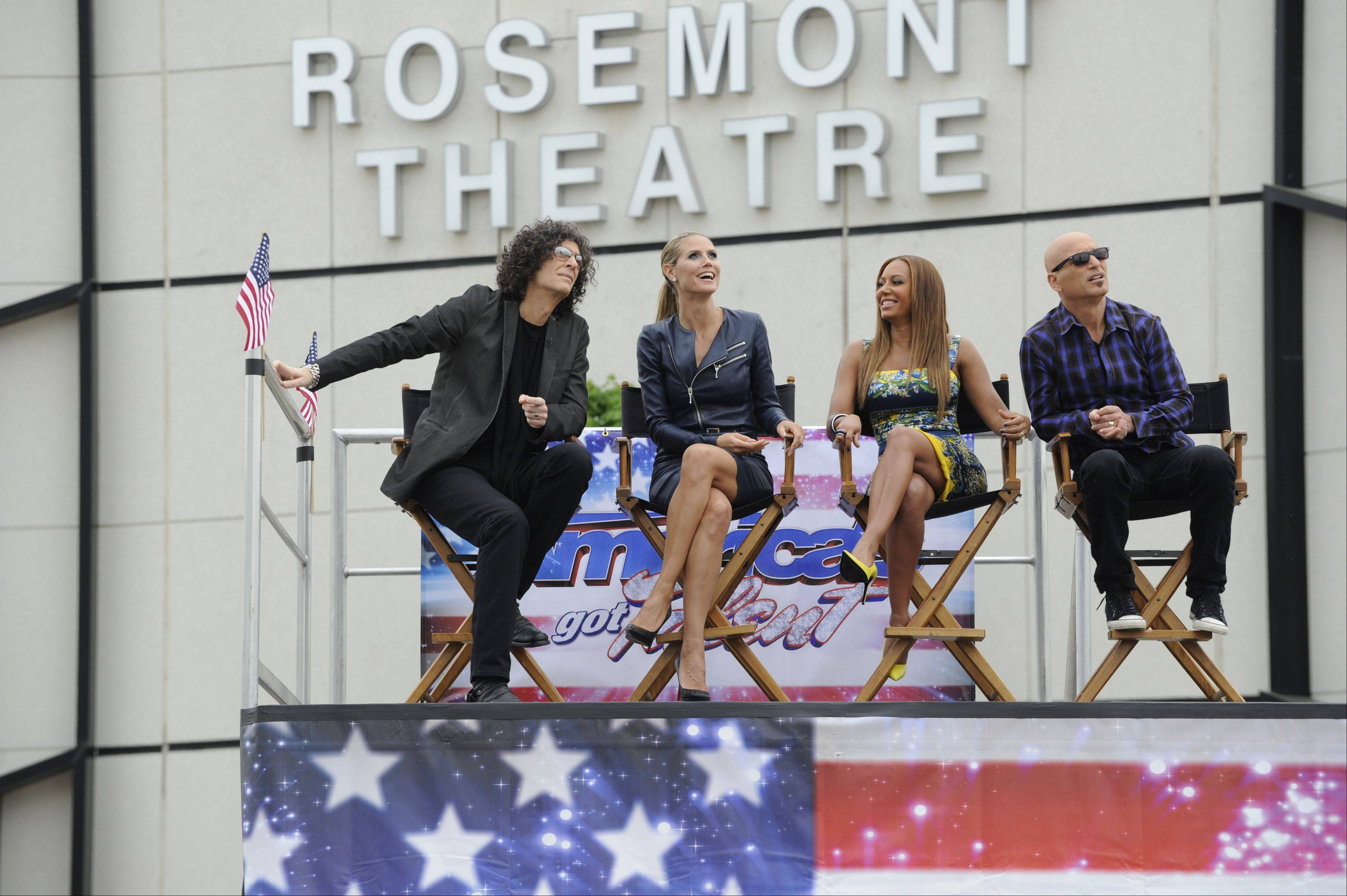 """America's Got Talent"" judges — Howard Stern, left, Heidi Klum, Mel B and Howie Mandel — taped for three days at the Rosemont Theatre in May. The episode featuring their time here airs at 8 p.m. Tuesday on NBC."