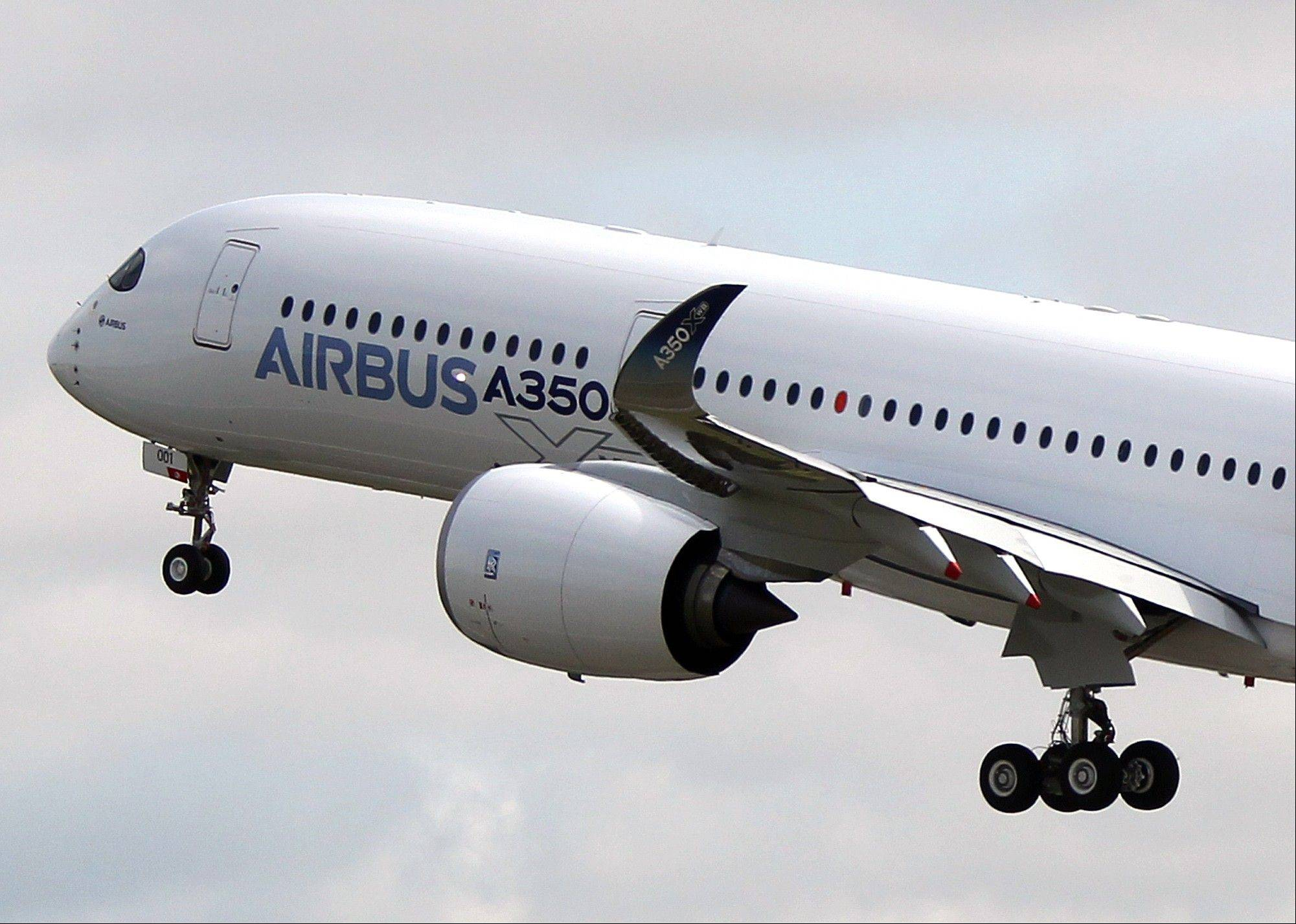 The Airbus A350 takes off on its maiden flight at Blagnac airport near Toulouse, southwestern France, Friday.