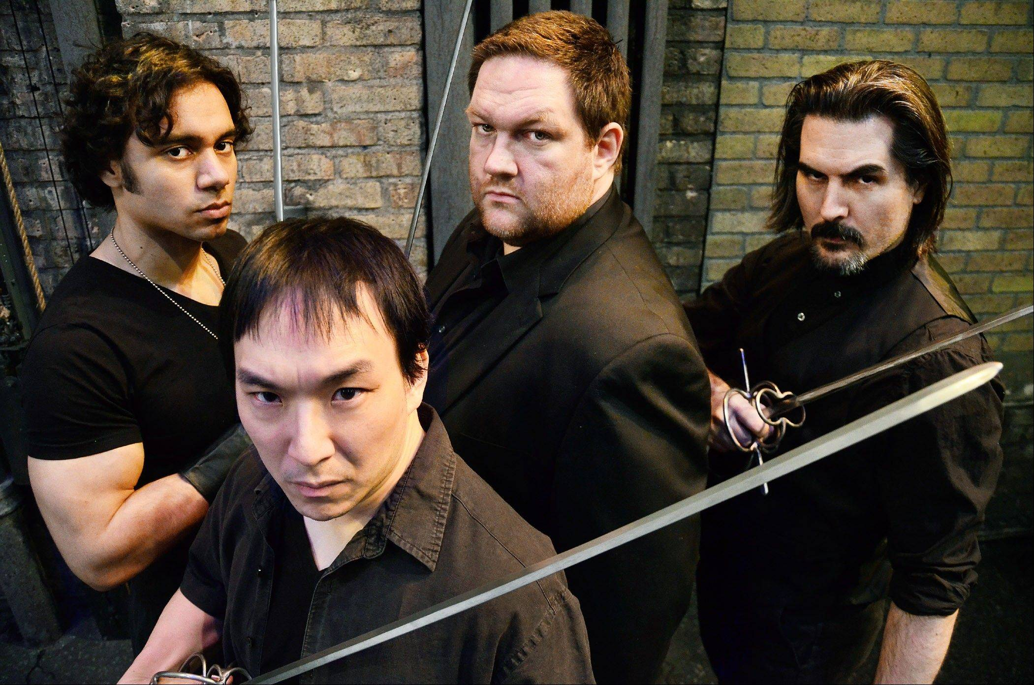 "Glenn Stanton, left, Dwight Sora, Christopher M. Walsh and Chris Hainsworth play the swashbuckling quartet in Lifeline Theatre's production of ""The Three Musketeers."""