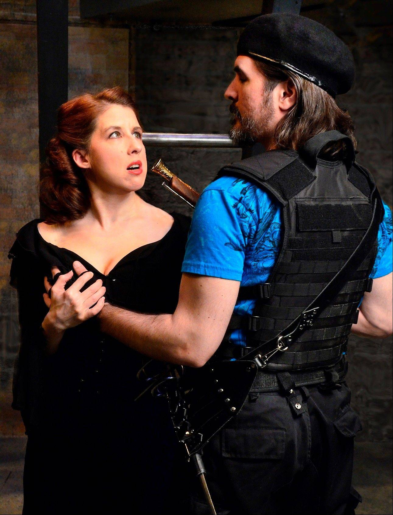 "Athos (Chris Hainsworth) confronts the duplicitous Milady (Katie McLean Hainsworth), an agent of the scheming Cardinal Richelieu in ""The Three Musketeers,"" running through July 21 at Lifeline Theatre."