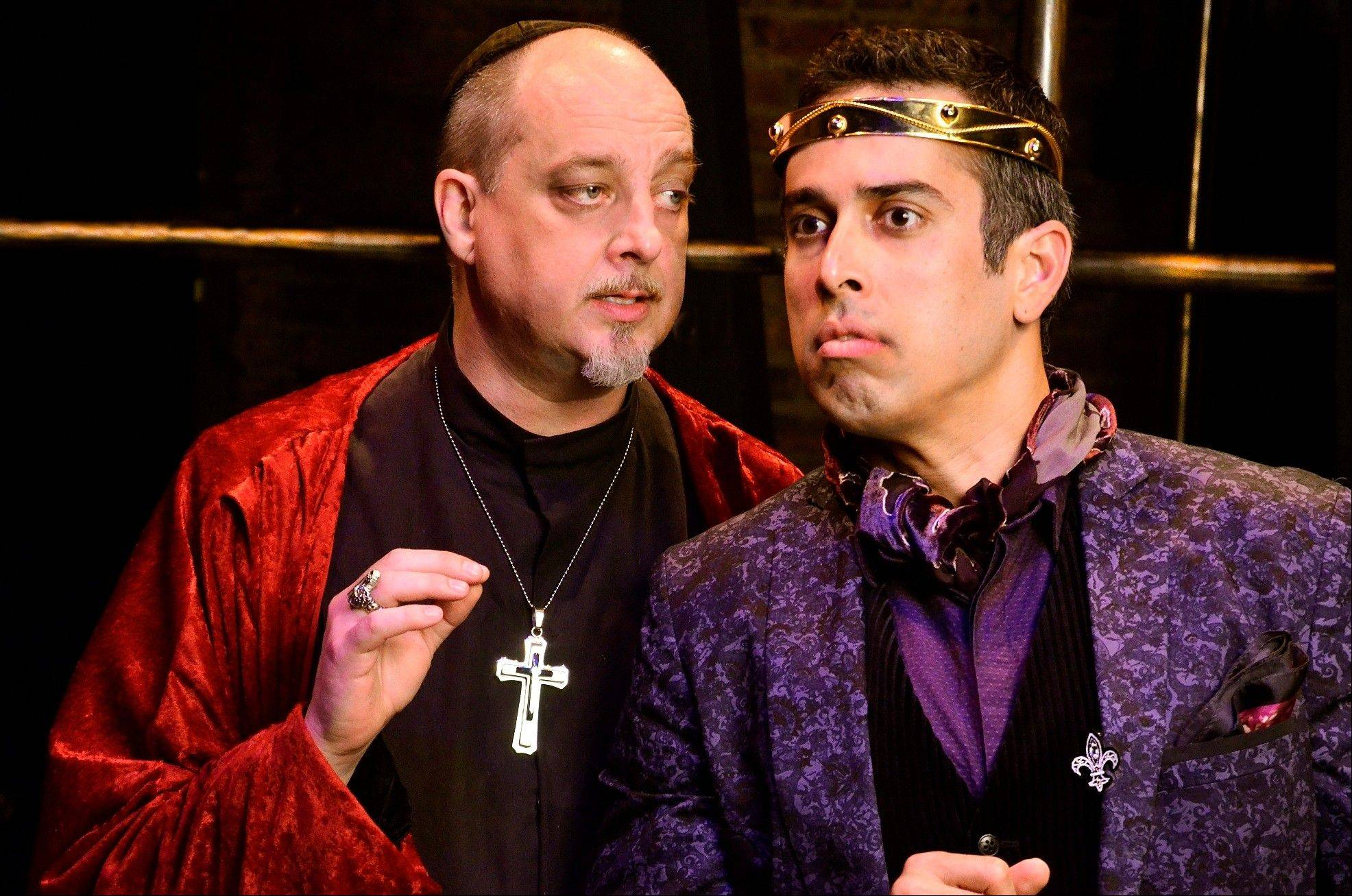 "In 17th century France, King Louis XIII (Miguel Nunez, right) and Cardinal Richelieu (Sean Sinitski) make for uneasy allies in Lifeline Theatre's production of Alexandre Dumas' swashbuckler ""The Three Musketeers,"" adapted by ensemble member Robert Kauzlaric and directed by Amanda Delheimer Dimond."
