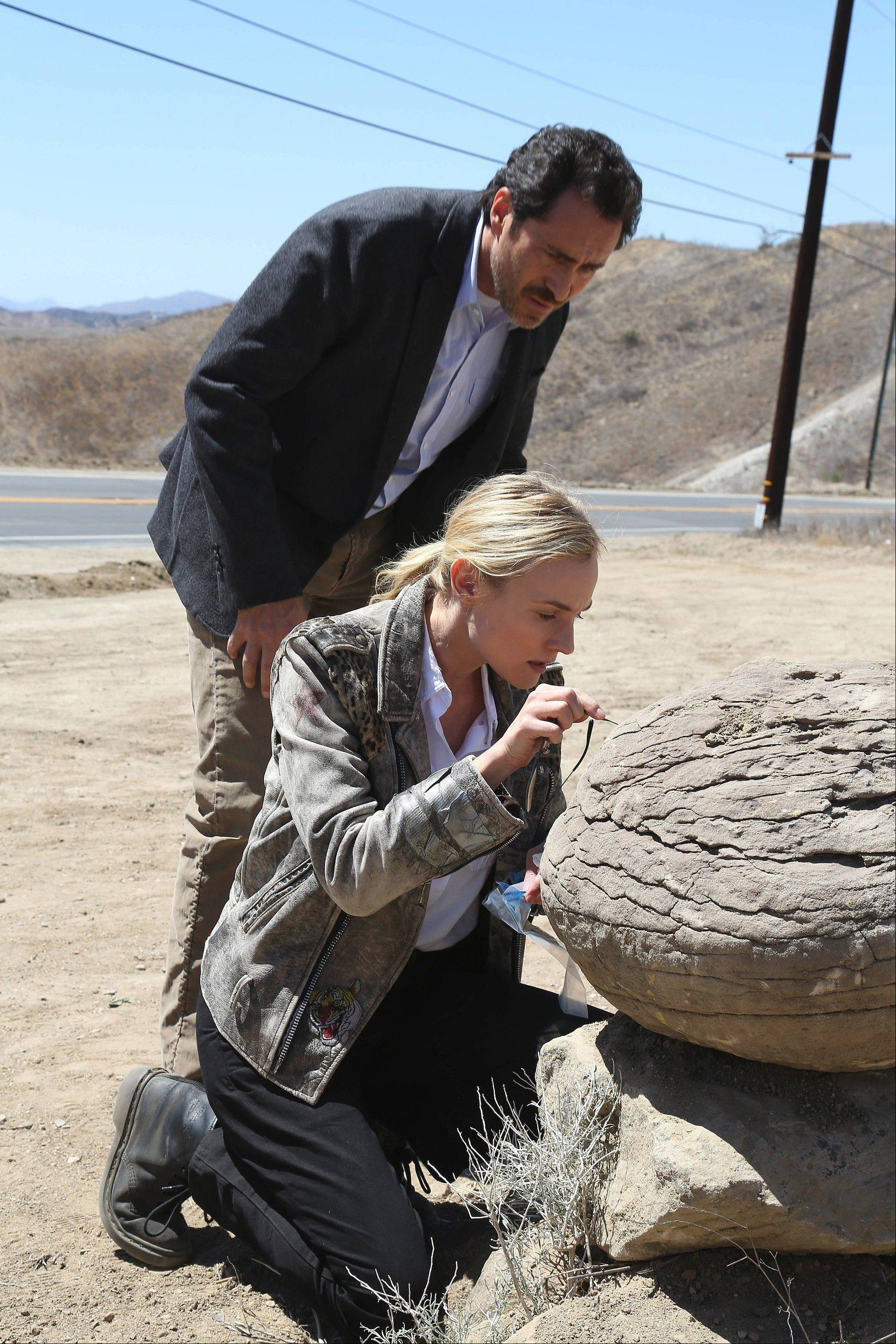 "Detectives (Demian Bichir and Diane Kruger) from both sides of the U.S./Mexico border investigate a serial killer in FX's ""The Bridge."""
