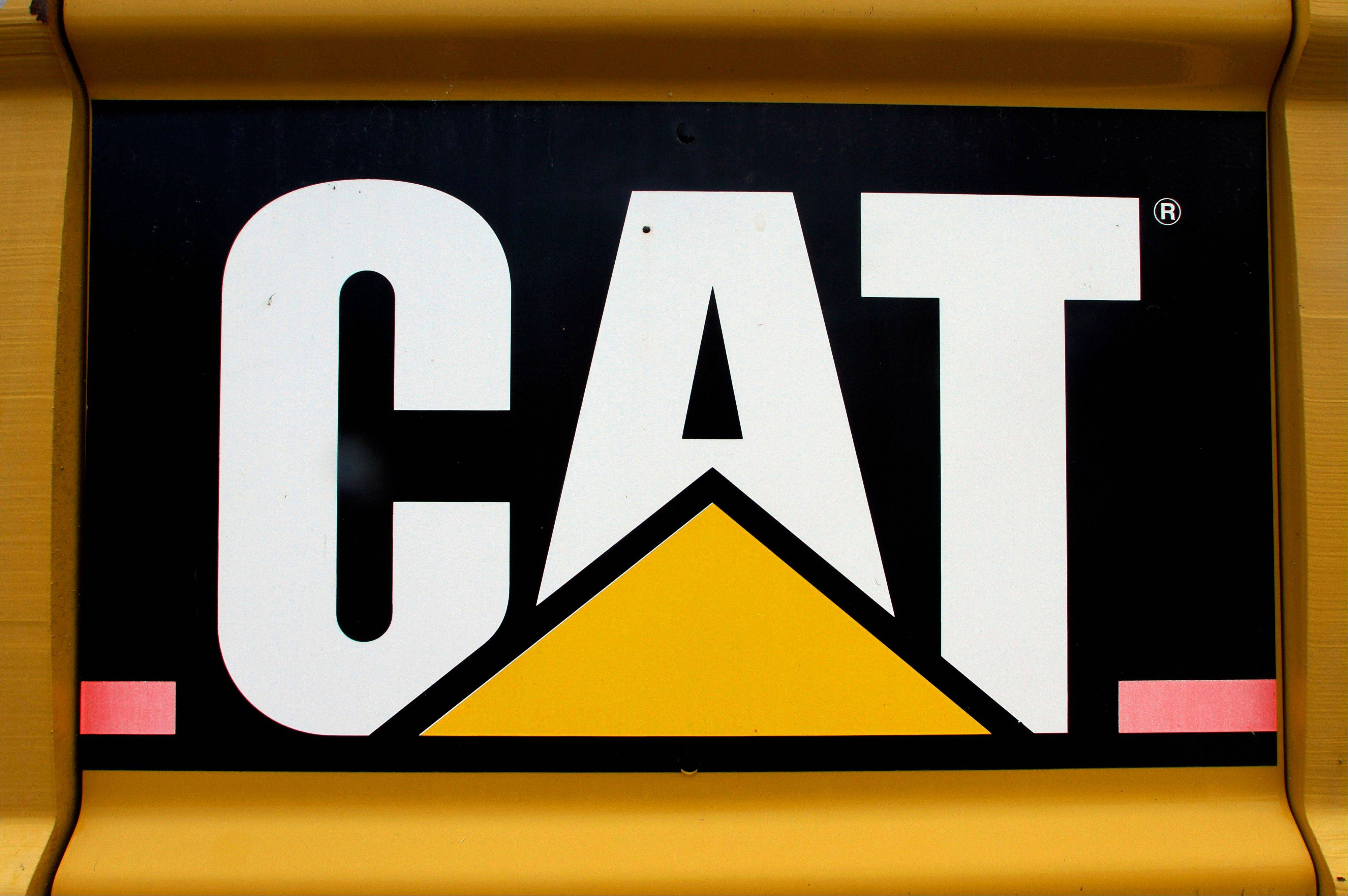 The Caterpillar logo on earth moving equipment in Springfield.