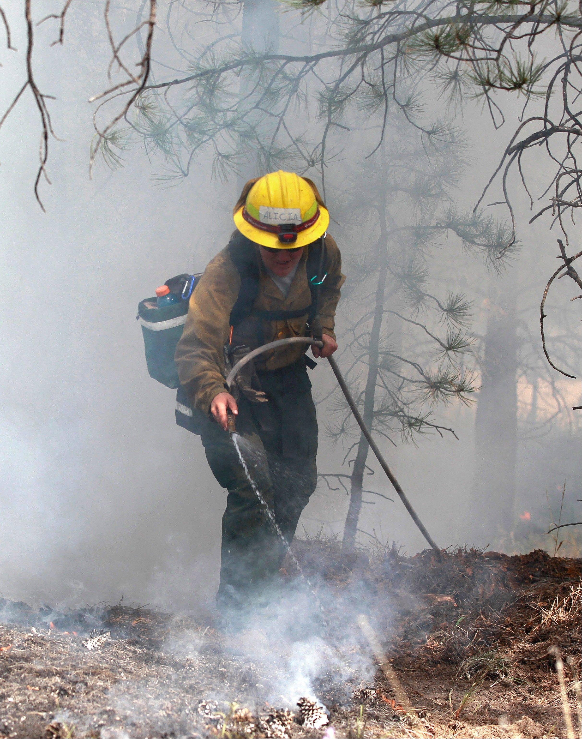 An AmeriCorps volunteer firefighter assigned to the El Paso County Sheriff's Office, Woodland Fire Crew, helps contain a spot fire Thursday in an evacuated area of forest, ranches and residences, in the Black Forest wildfire area near Colorado Springs.