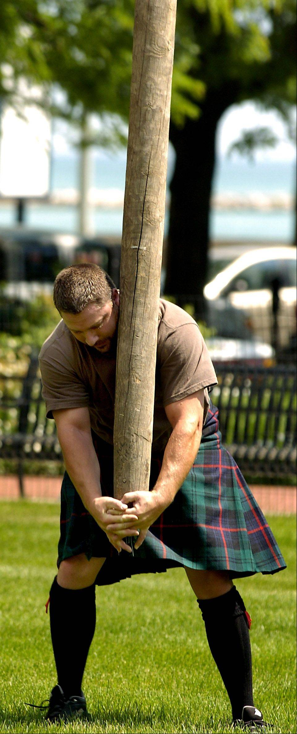 The caber toss is one of the field sports at the Highland Games and Scottish Festival, being held this yaer at Hamilton Lakes in Itasca.
