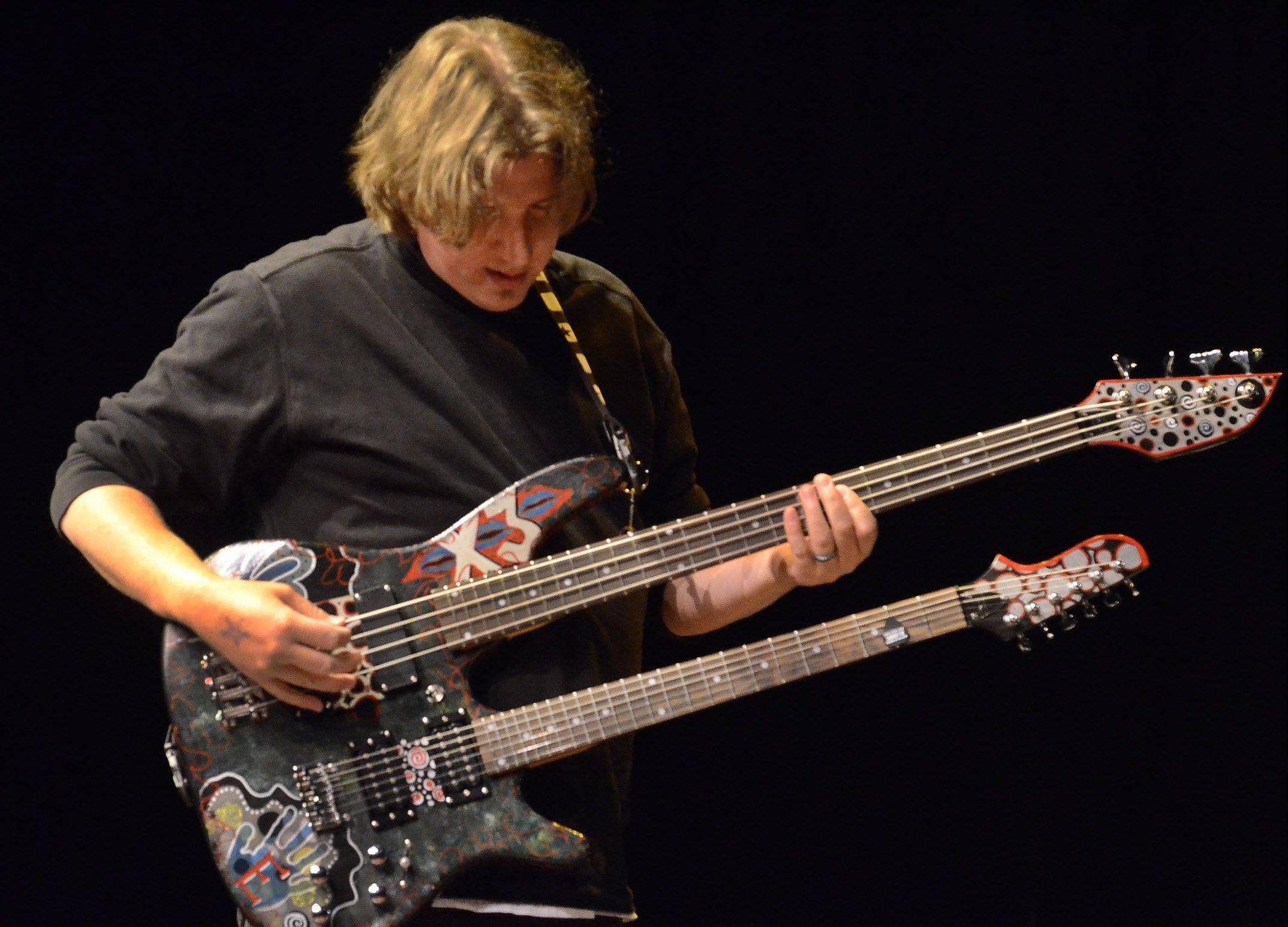 "Dave Siemiaszko of Wheeling, wields his custom-made double-neck guitar he calls ""The Beast"" while performing an original composition on day one of auditions for Suburban Chicago's Got Talent. Siemiaszko was named one of the competition's top 30 finalists."
