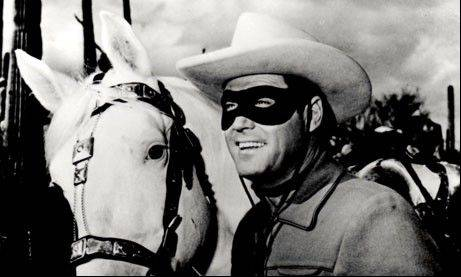 Actor Clayton Moore from the TV series the Lone Ranger.