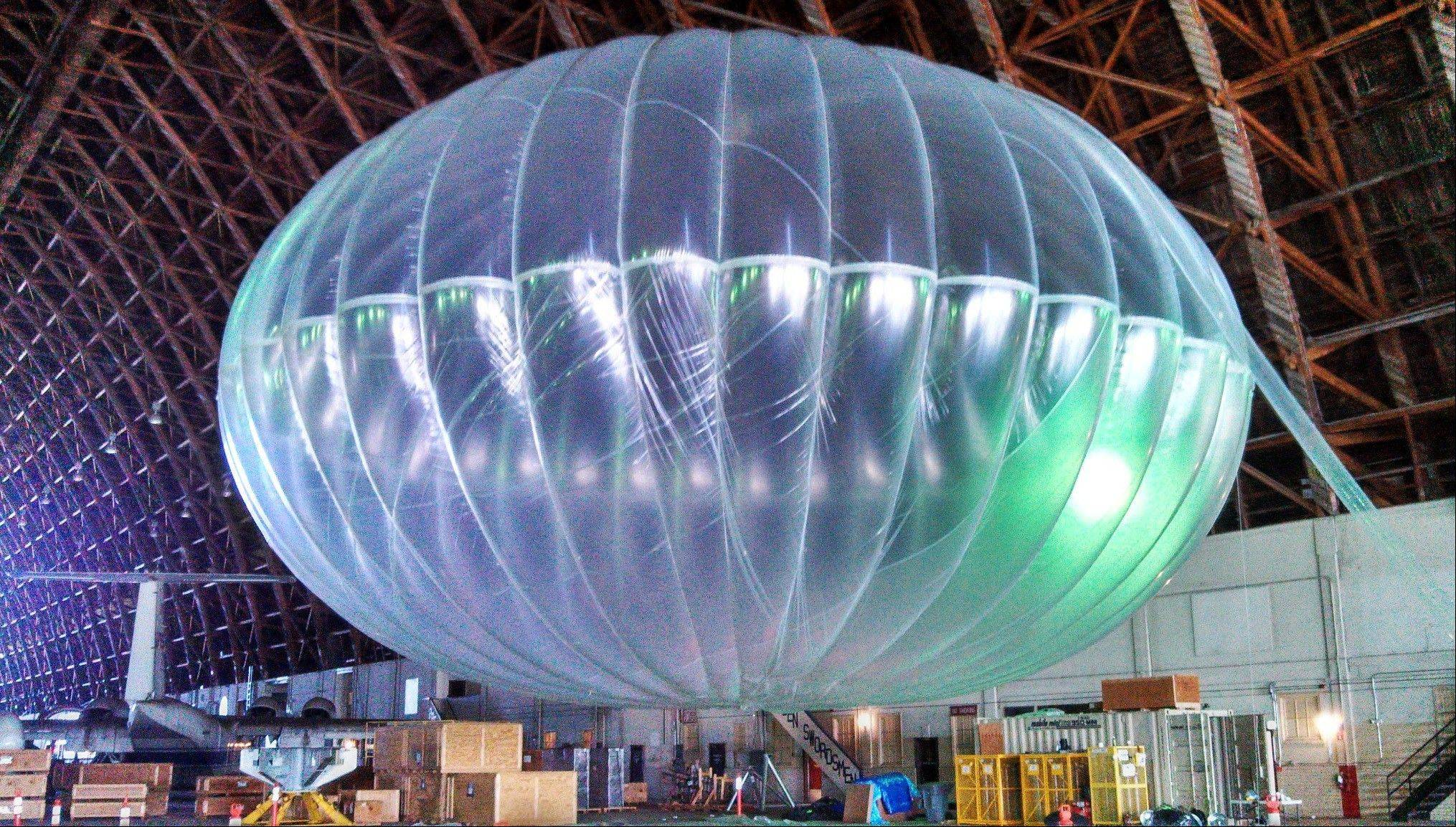 Associated Press/March 1, 2013A fully inflated test balloon sits in a hangar at Moffett Field airfield, Calif.