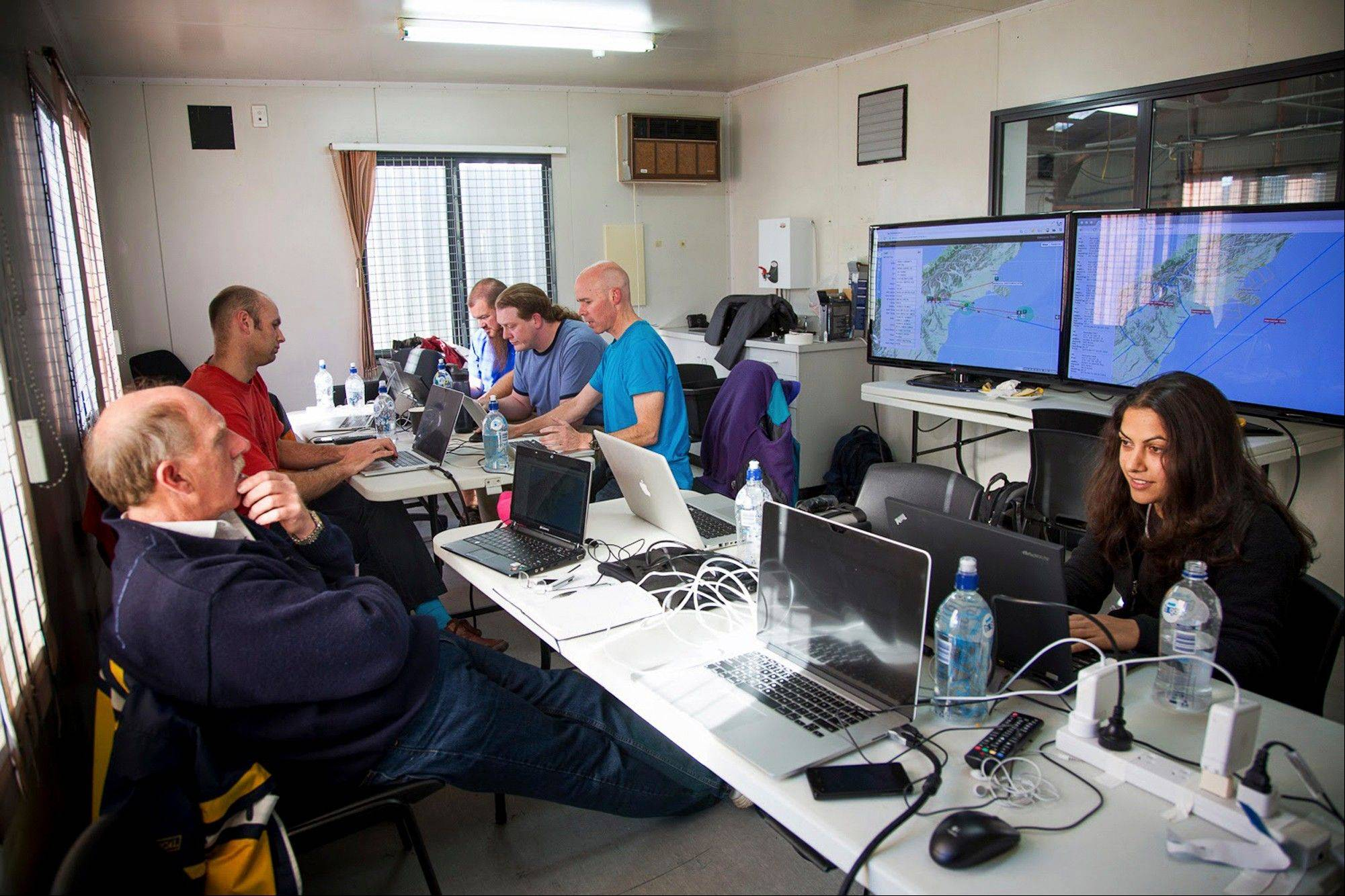 Google's team at mission control monitors a balloon launch Wednesday in Christchurch, New Zealand.