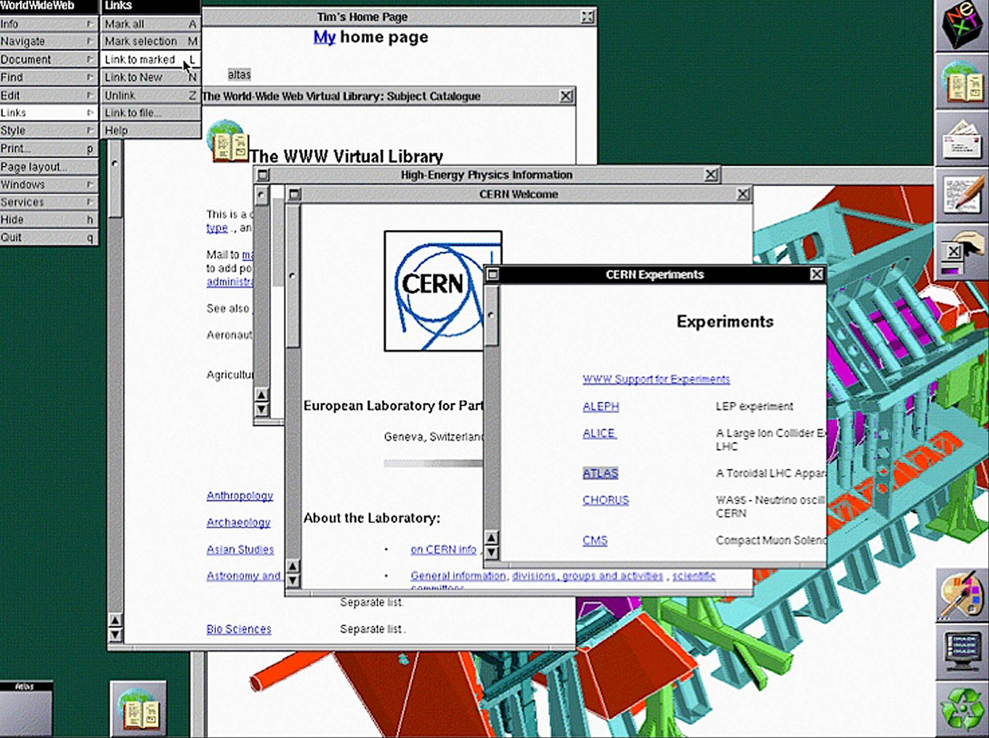 In this image provided by The European Organization for Nuclear Research, or CERN, a screenshot of the original NeXT web browser in 1993 is seen. The scientists at the European Organization for Nuclear Research, known by its French acronym CERN, are searching for the first Web page. It was at CERN that Tim Berners-Lee invented the Web in 1990 as an unsanctioned project, using a NeXT computer that Apple co-founder Steve Jobs designed in the late 80s during his 12-year exile from the company.