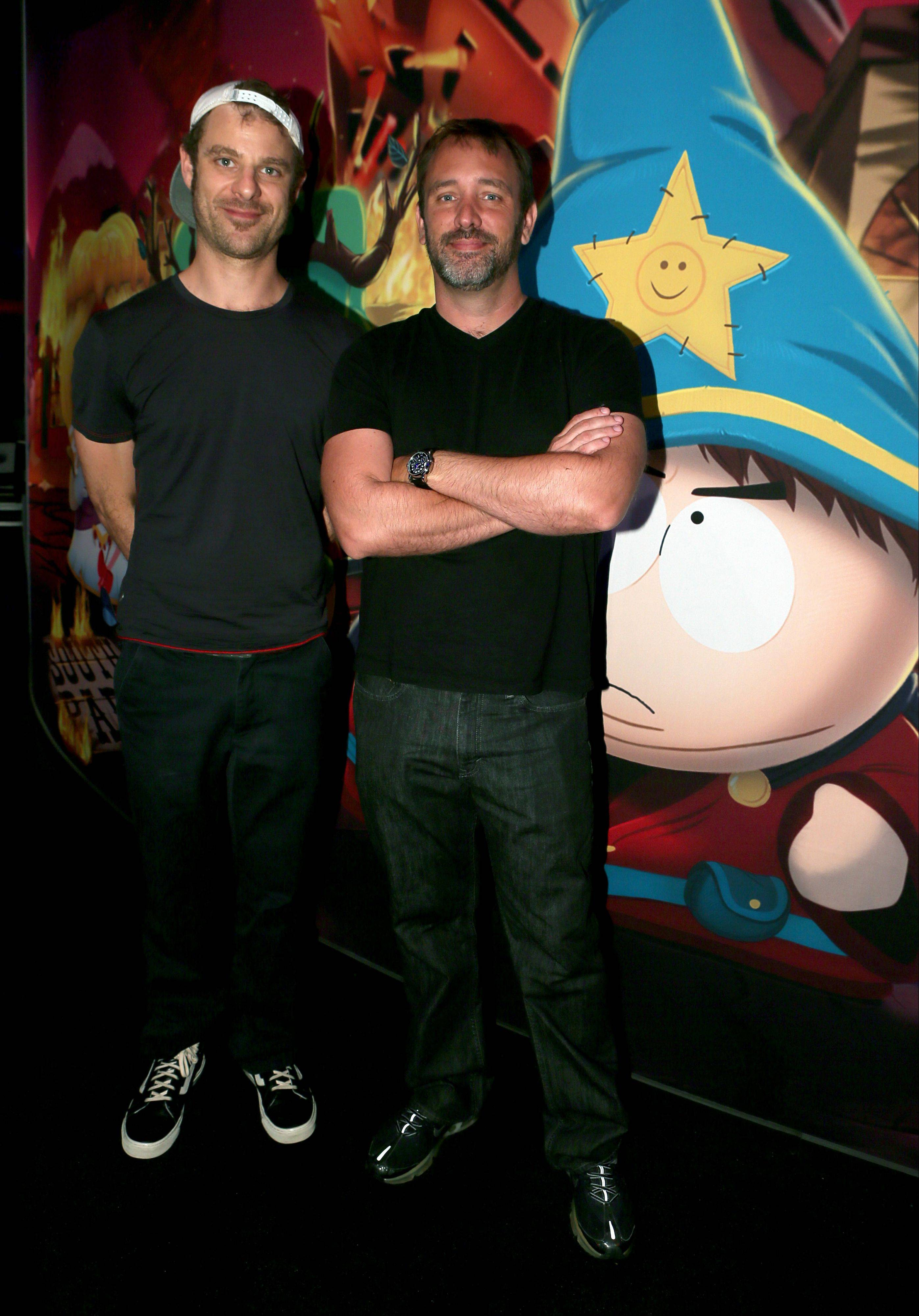"Matt Stone, left, and Trey Parker discuss ""South Park: The Stick of Truth"" at the Ubisoft booth at E3 in Los Angeles."