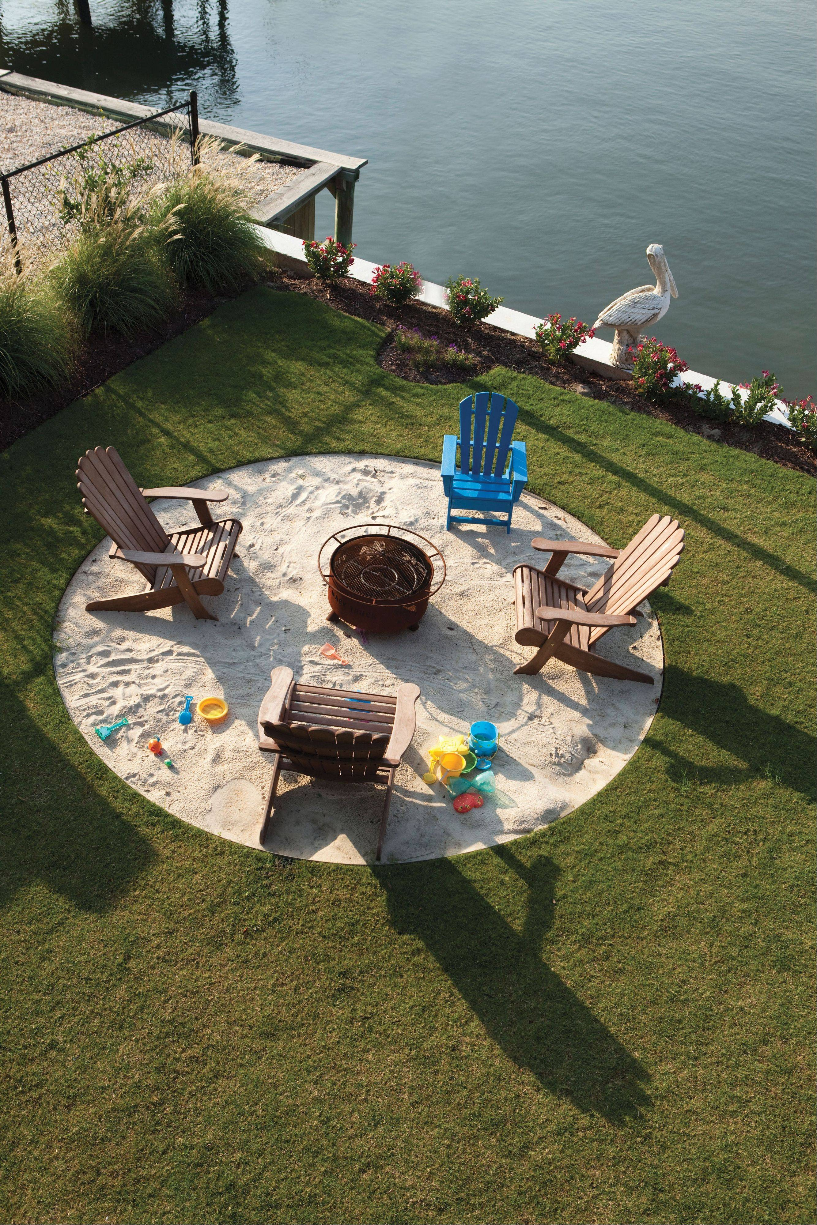 A fire pit that doubles as a sandbox retains its usefulness long after the kids have grown up. Plus, it provides a focal point for the yard.
