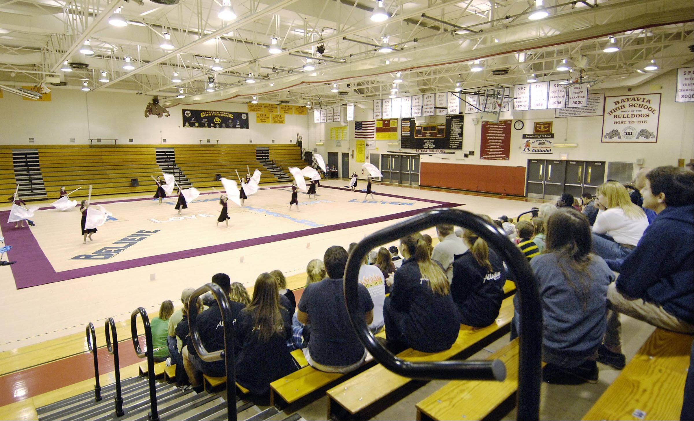 The Allegiance Youth Color Guard Cadet squad performs earlier this year at Batavia High School. The team earned a first-place in April at the Midwest Circuit Championships in Laporte, Ind. The group is looking for more members, along with gymnasiums to use for rehearsals.