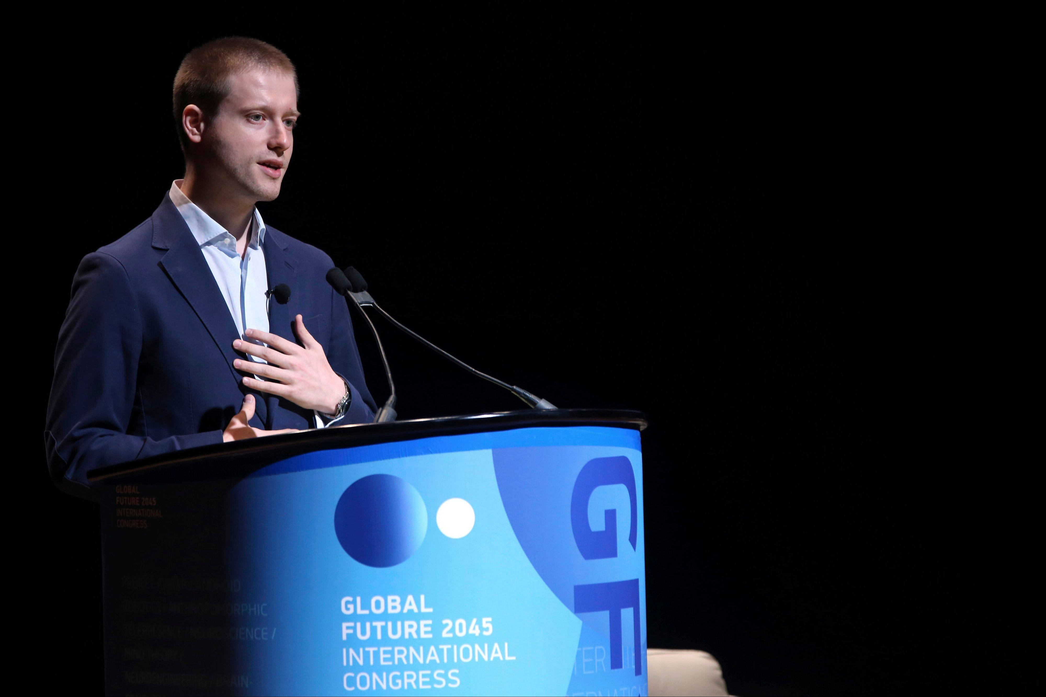 Russian billionaire Dmitry Itskov speaks Saturday to the Global Future 2045 Congress at Lincoln Center in New York.