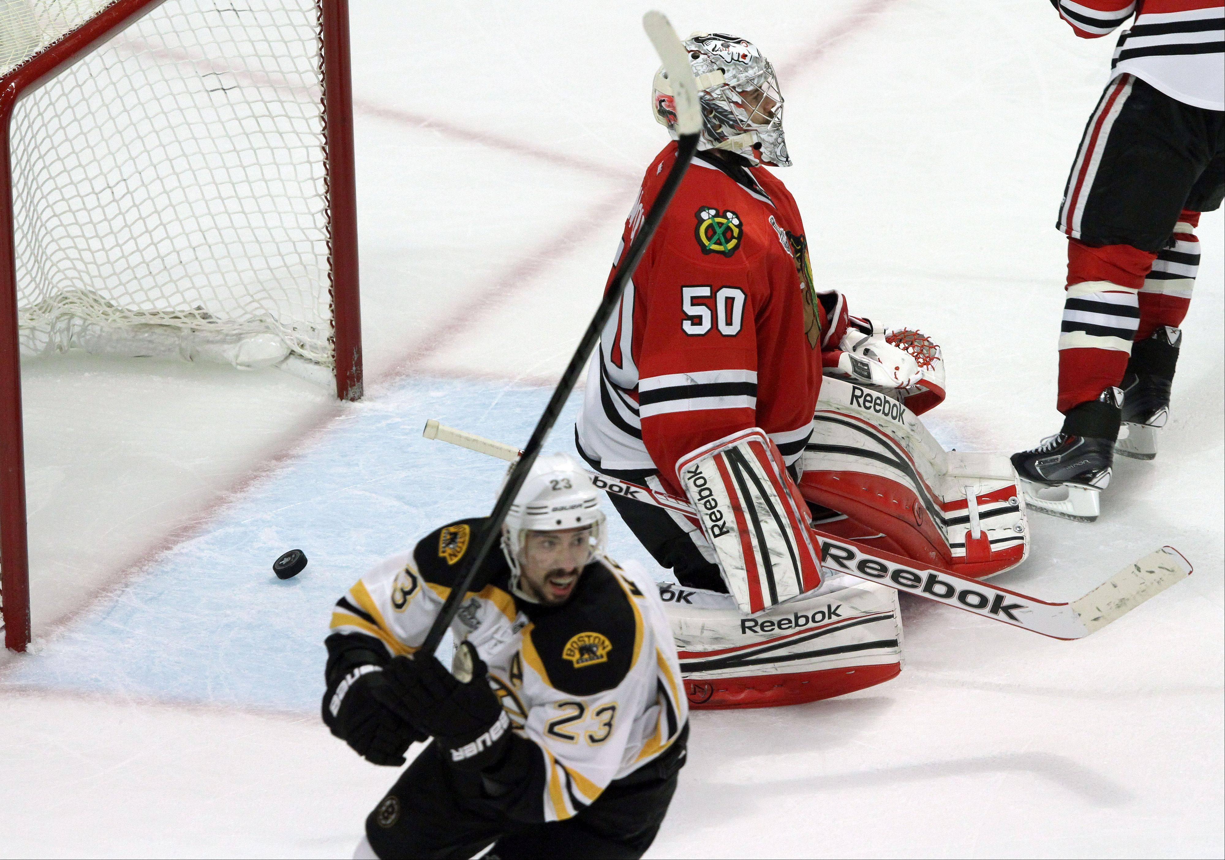 Steve Lundy/slundy@dailyherald.com Chicago Blackhawks goalie Corey Crawford lets in a goal off a shot from Boston Bruins left wing Daniel Paille during game 2 of the Stanley Cup Finals against the Boston Bruins at the United Center in Chicago Saturday.