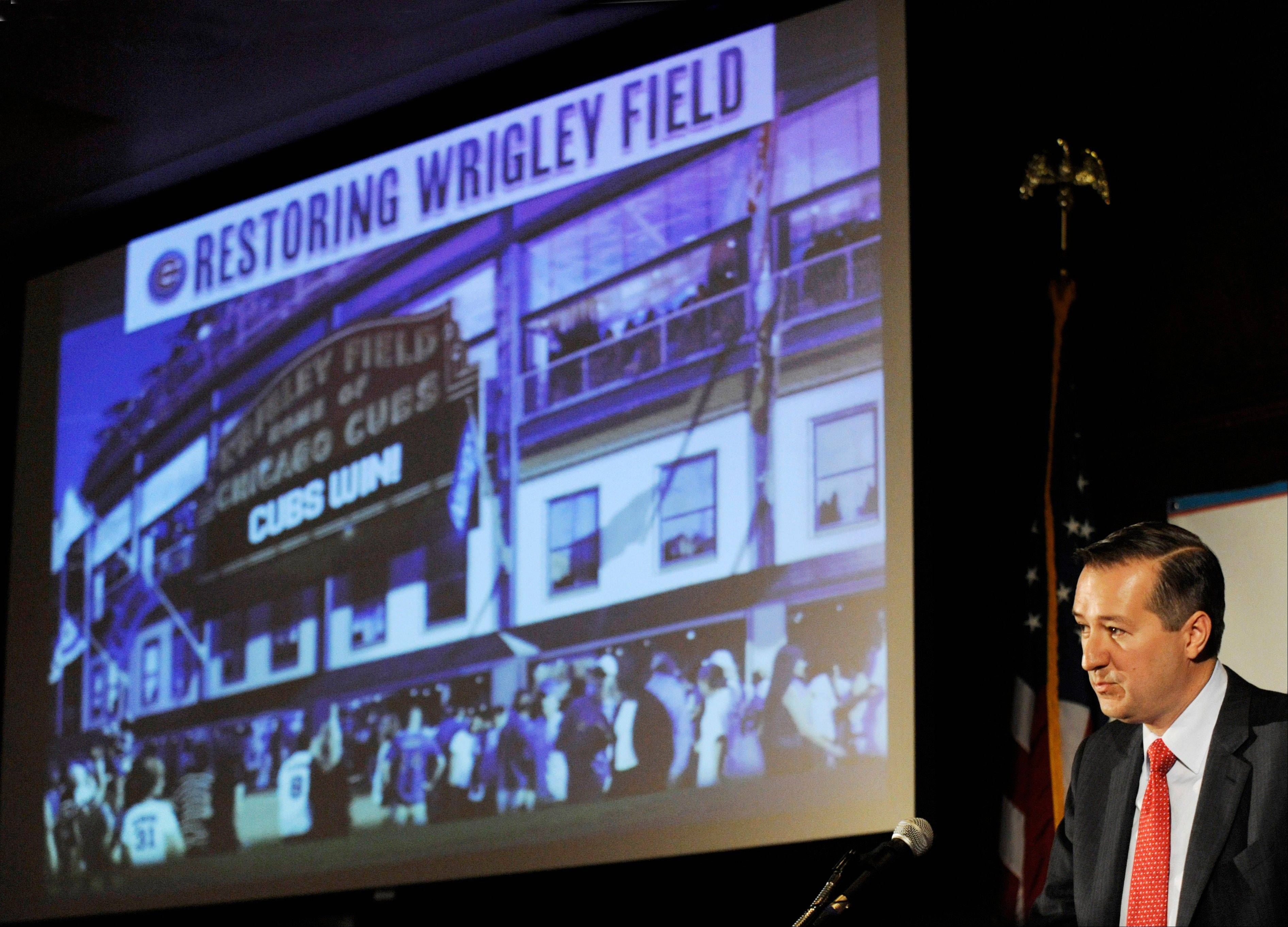 Chicago Cubs Chairman Tom Ricketts speaks in Chicago about proposed renovations at Wrigley Field. A battle is heating up between the Cubs and rooftop owners across the street from the ballpark as the team proposes renovations, including a Jumbotron in he bleachers, that would block the views and threaten the business those views have created.