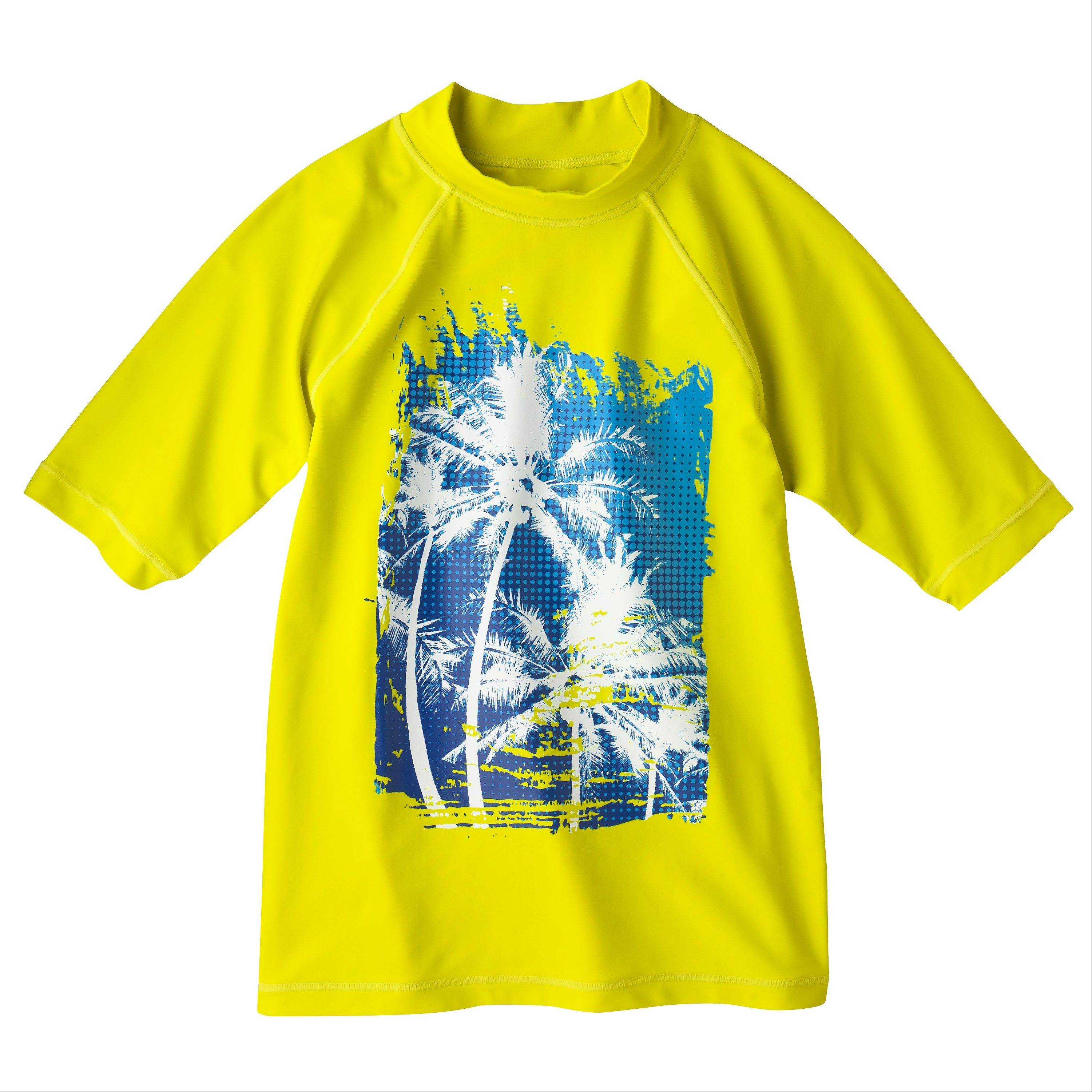 A Cherokee Boys' Rashguard, $12.99, Target, paired with up & up Kids' Sunscreen Broad Spectrum SPF 50 Spray, $5.79, Target, will keep him fresh, sun-protected and moving freely.